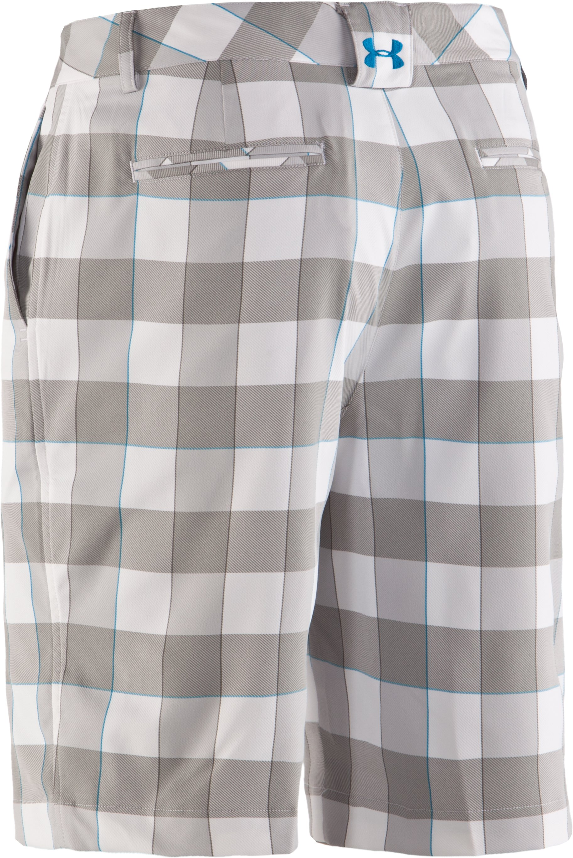 "Men's UA Square Plaid 10.5"" Golf Shorts, White"