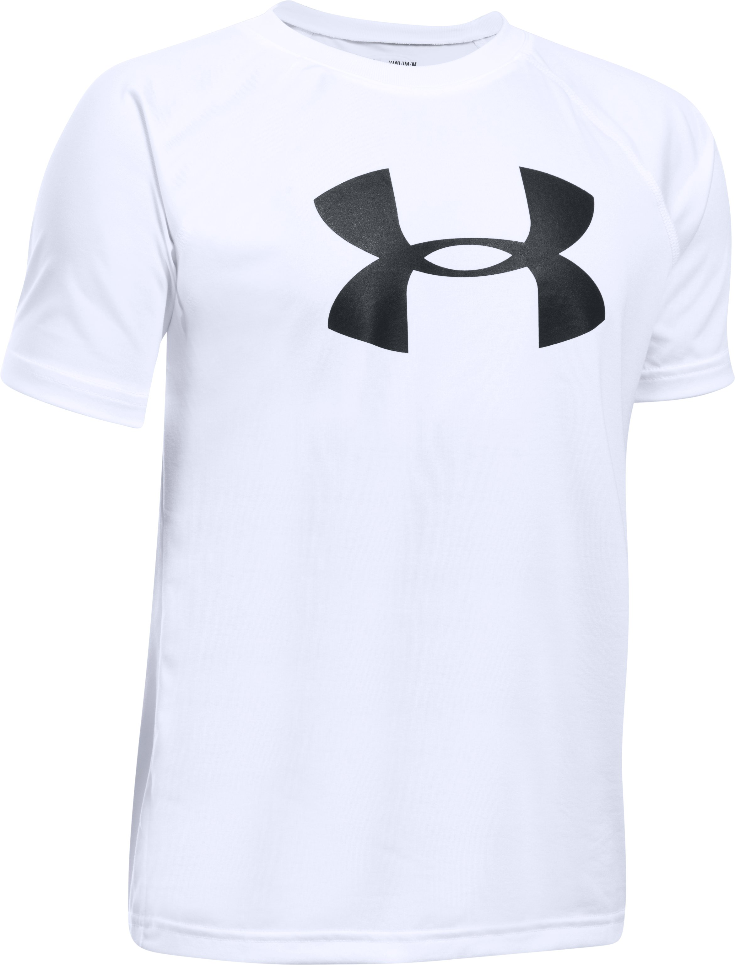 Boys' UA Tech™ Big Logo Short Sleeve T-Shirt, White, zoomed image