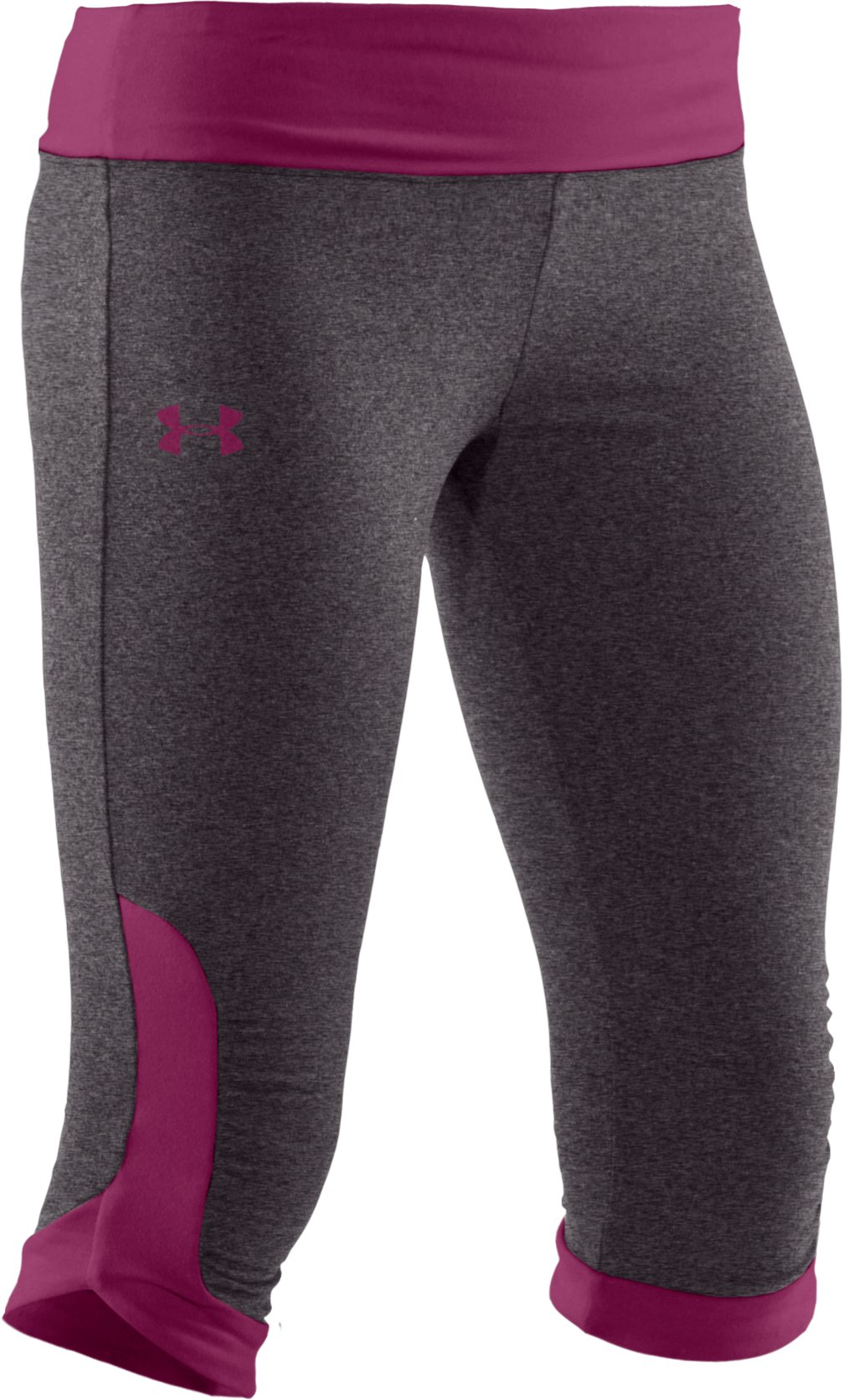 Girls' HeatGear® Touch Fitted Capri, Carbon Heather