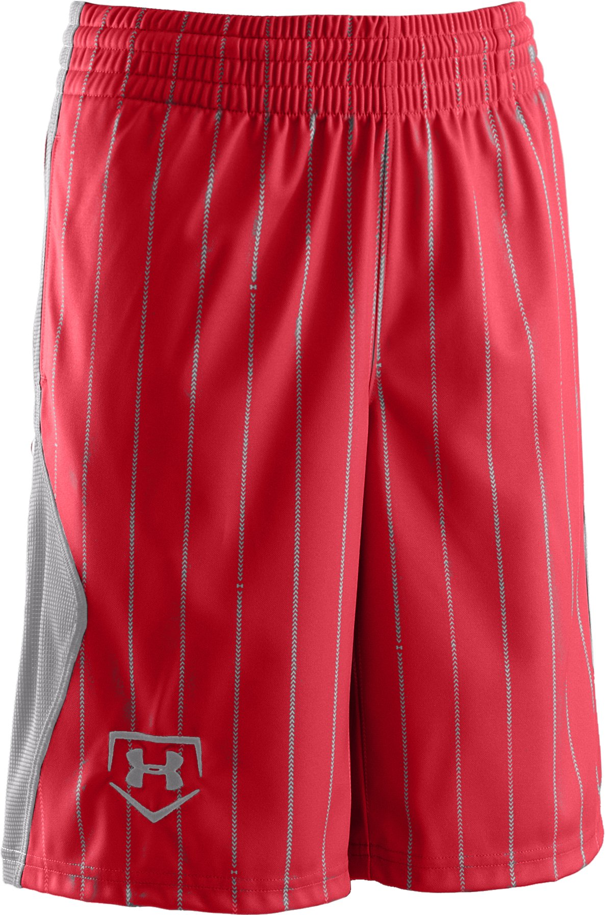 Boys' UA CTG Pinstripe Baseball Shorts, Red, zoomed image
