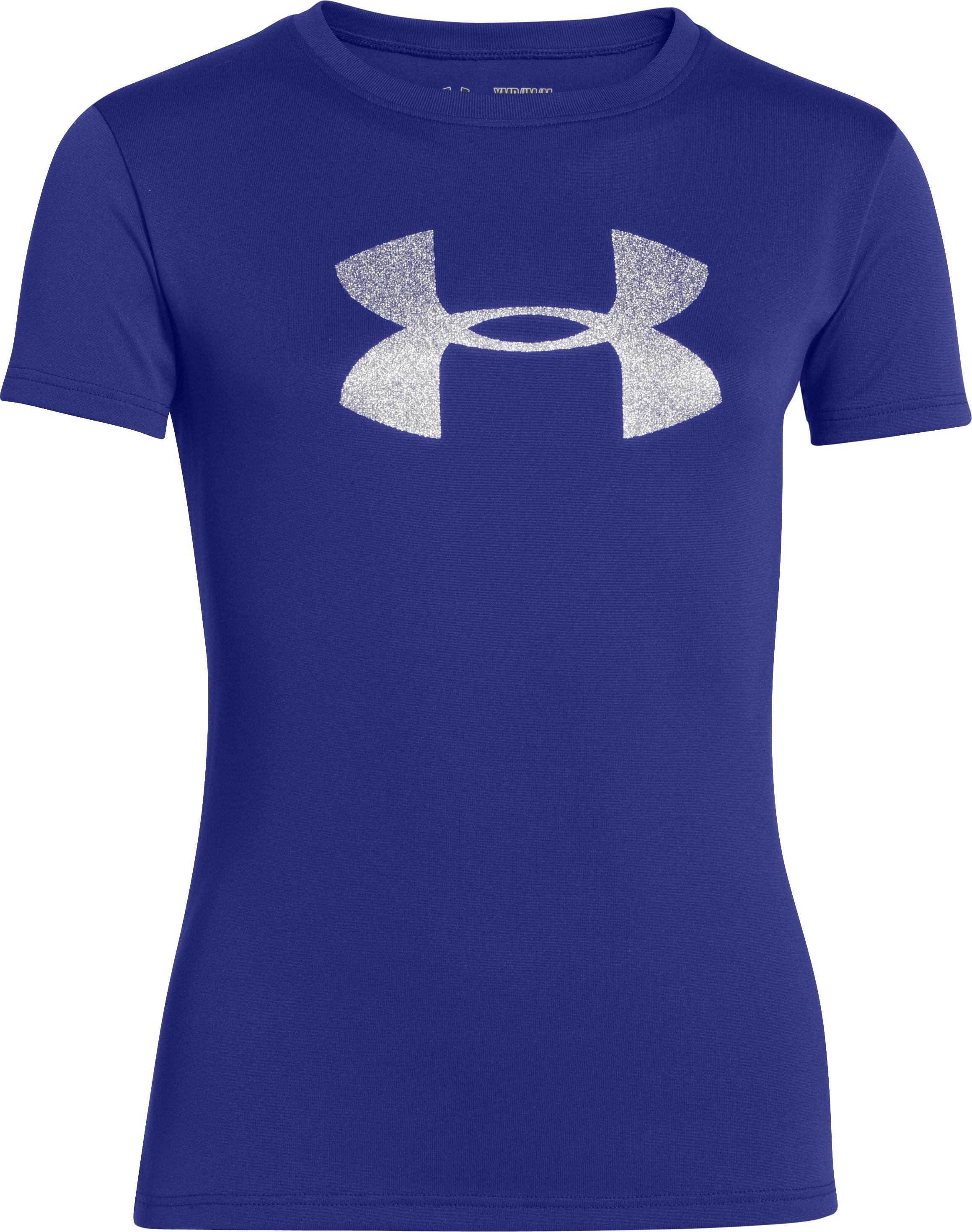 Girls' UA Big Logo Short Sleeve T-Shirt, SIBERIAN IRIS