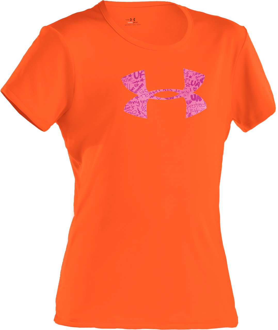 Girls' UA Big Logo Short Sleeve T-Shirt, PINKADELIC, zoomed image
