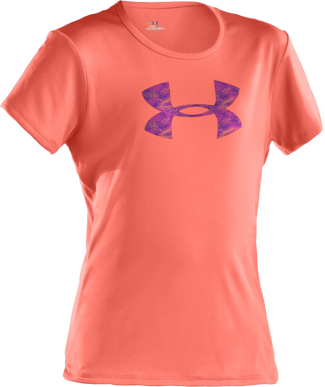 Girls' UA Big Logo Short Sleeve T-Shirt, ELECTRIC TANGERINE, zoomed image