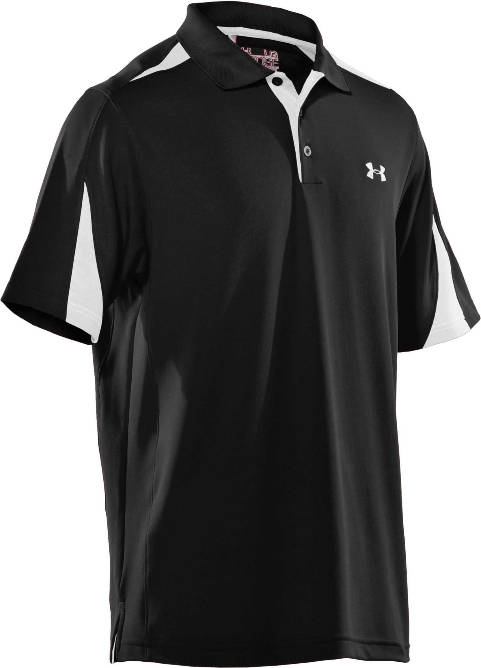 Men's UA Performance Colorblock Polo, Black ,