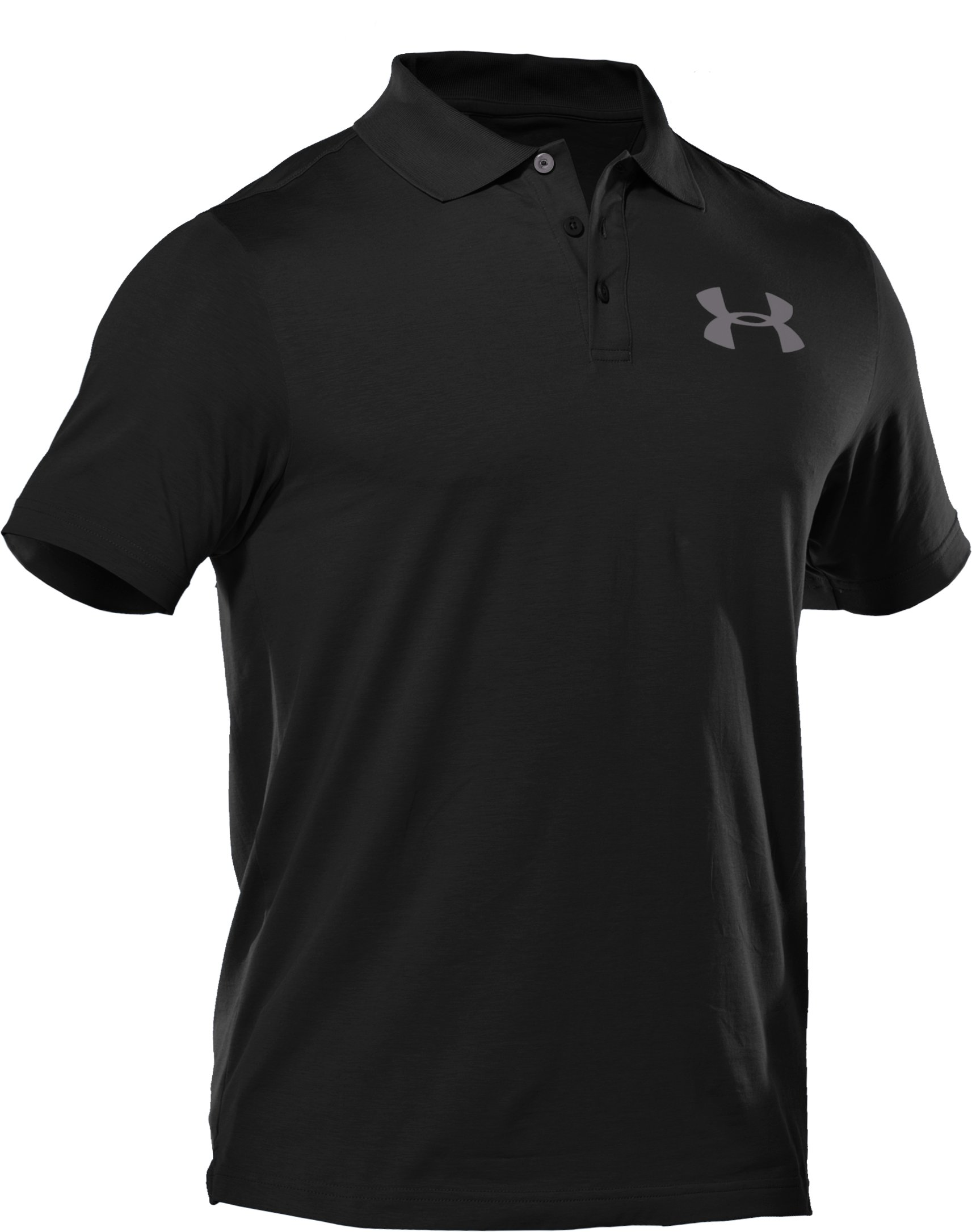 Men's Charged Cotton® Jersey Solid Polo, Black ,