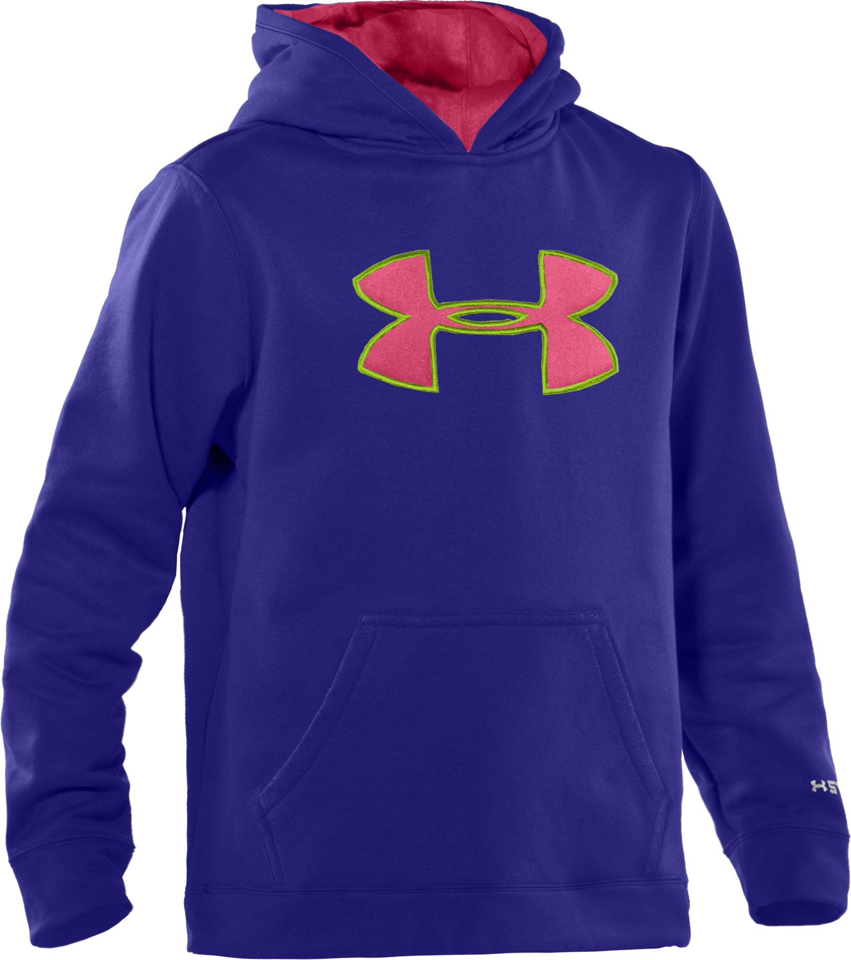 Girls' Armour® Fleece Storm Big Logo Hoodie, Caspian, zoomed image