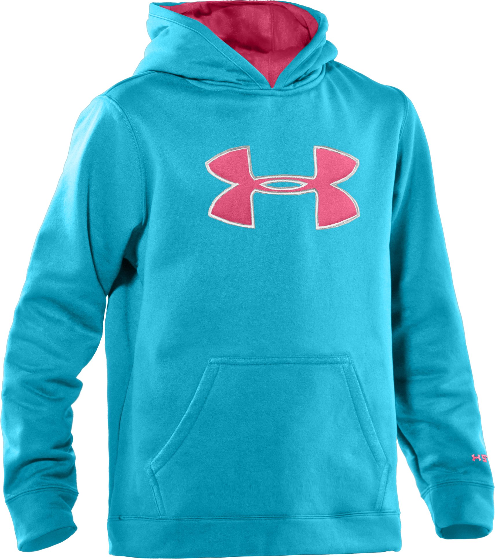 Girls' Armour® Fleece Storm Big Logo Hoodie, Break, zoomed image