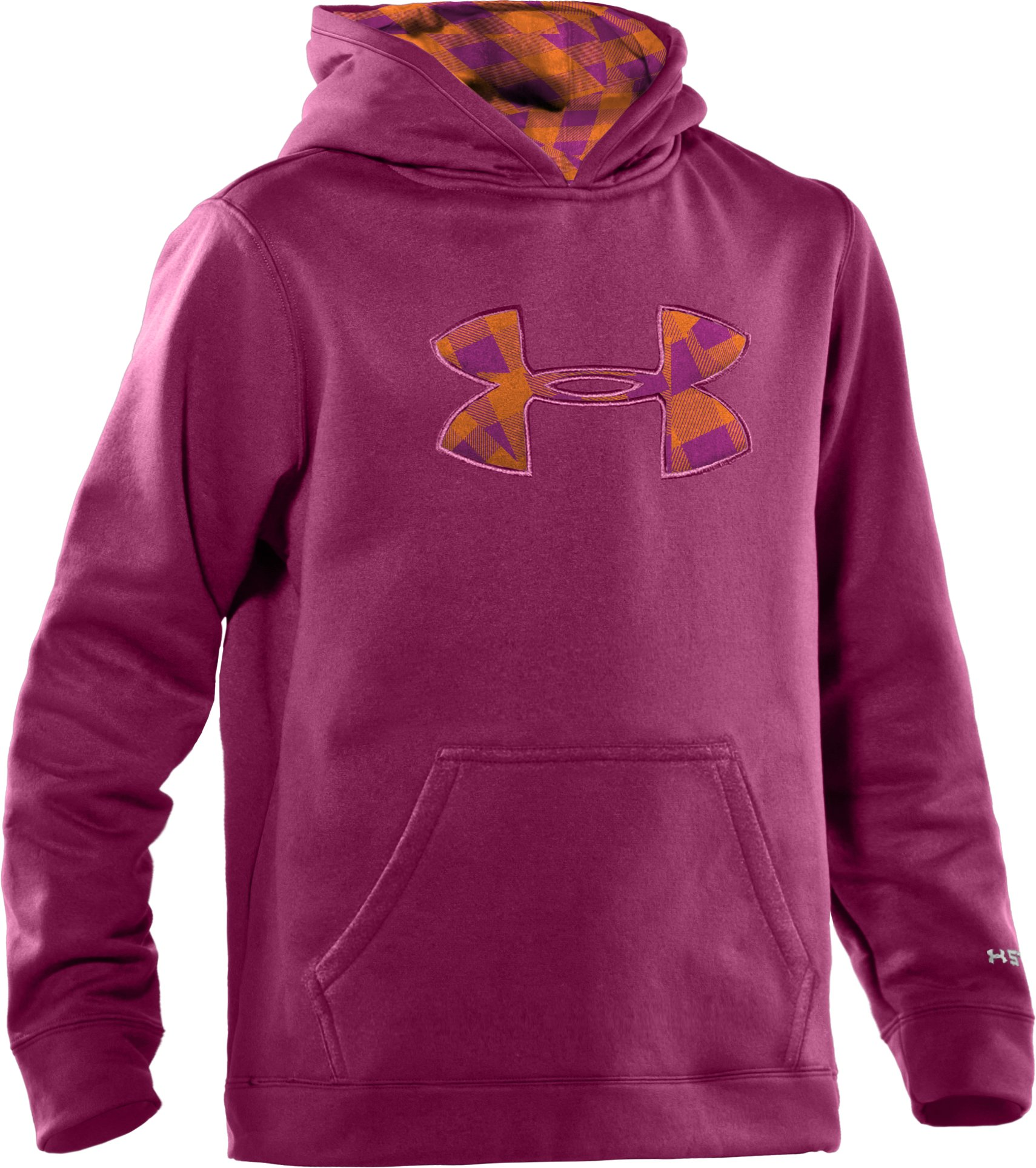 Girls' Armour® Fleece Storm Big Logo Hoodie, Rosewood, zoomed image
