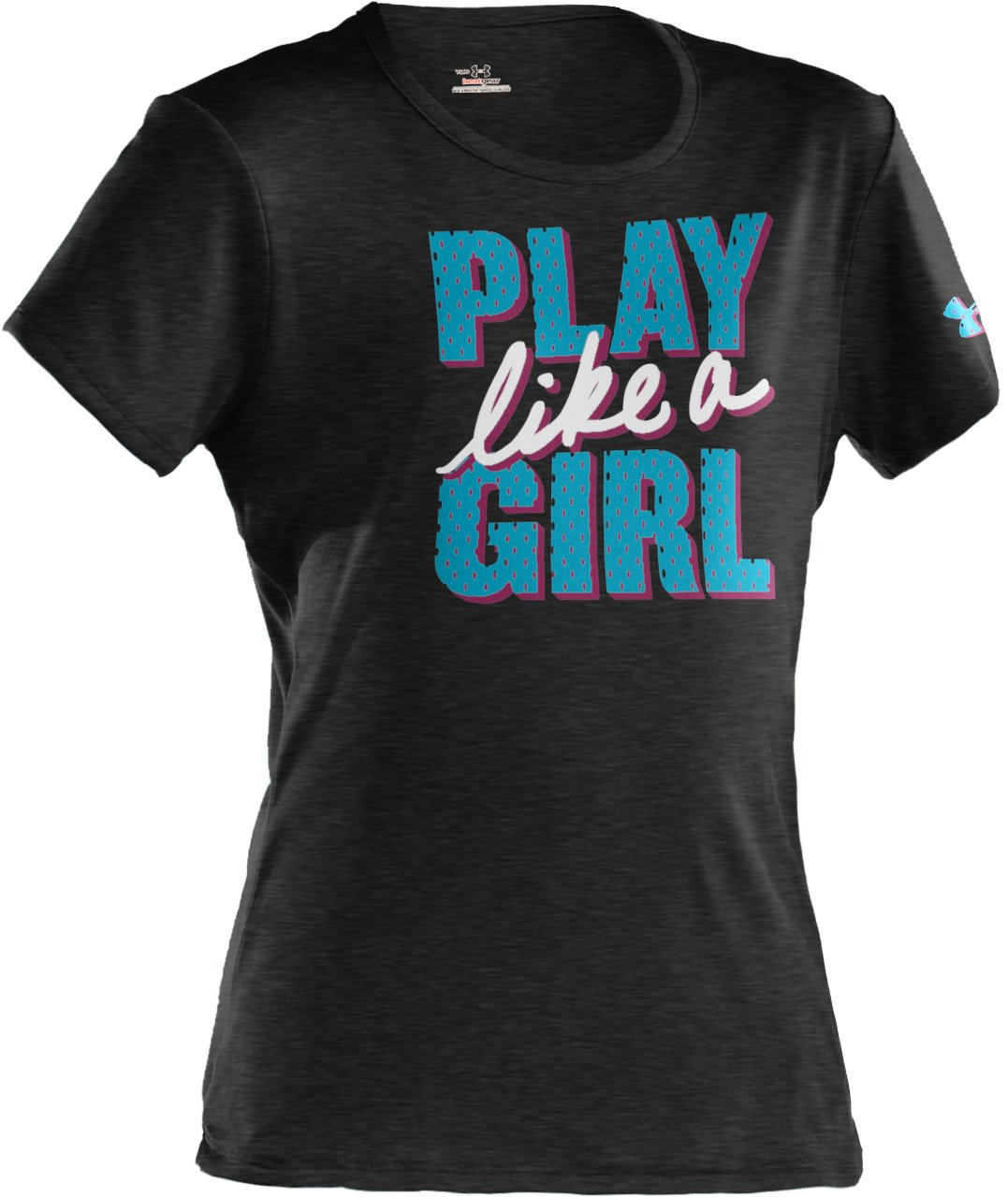 Girls' Play Like A Girl Graphic T-Shirt, Asphalt Heather, zoomed image