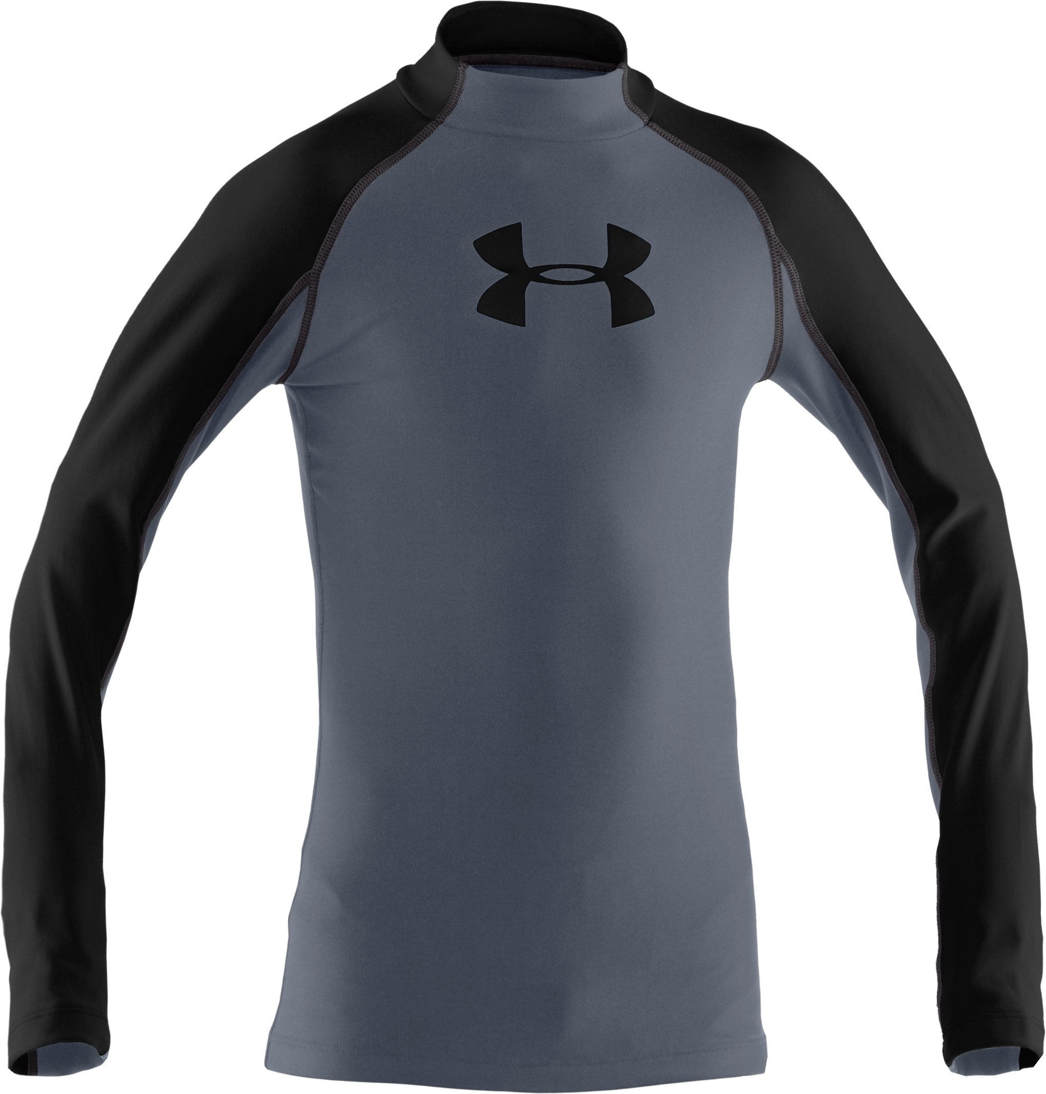 Boys' UA Competition Fitted Baselayer Mock, Steel, zoomed image