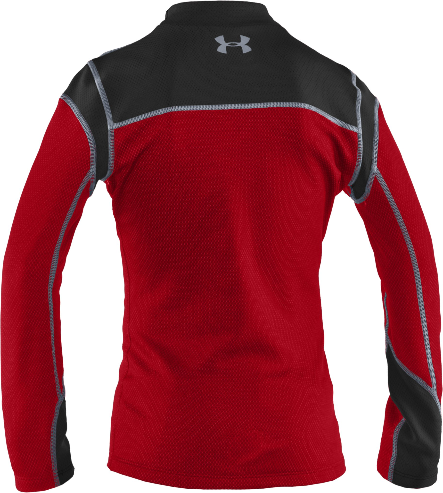 Boys' ColdGear® Thermo Hi Crew, Red, zoomed image