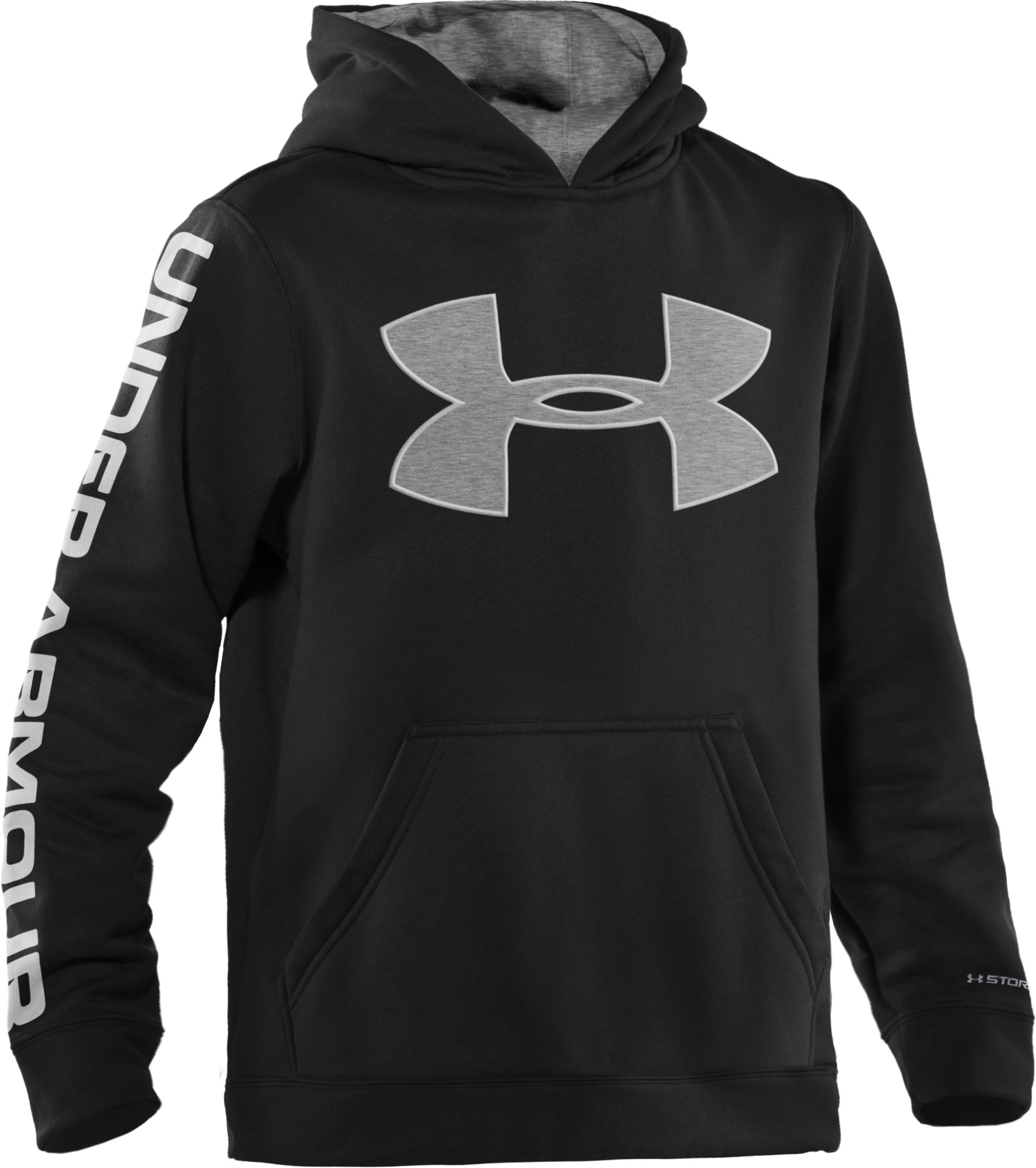 Boys' Armour® Fleece Storm Big Logo Pullover Hoodie, Black , zoomed image