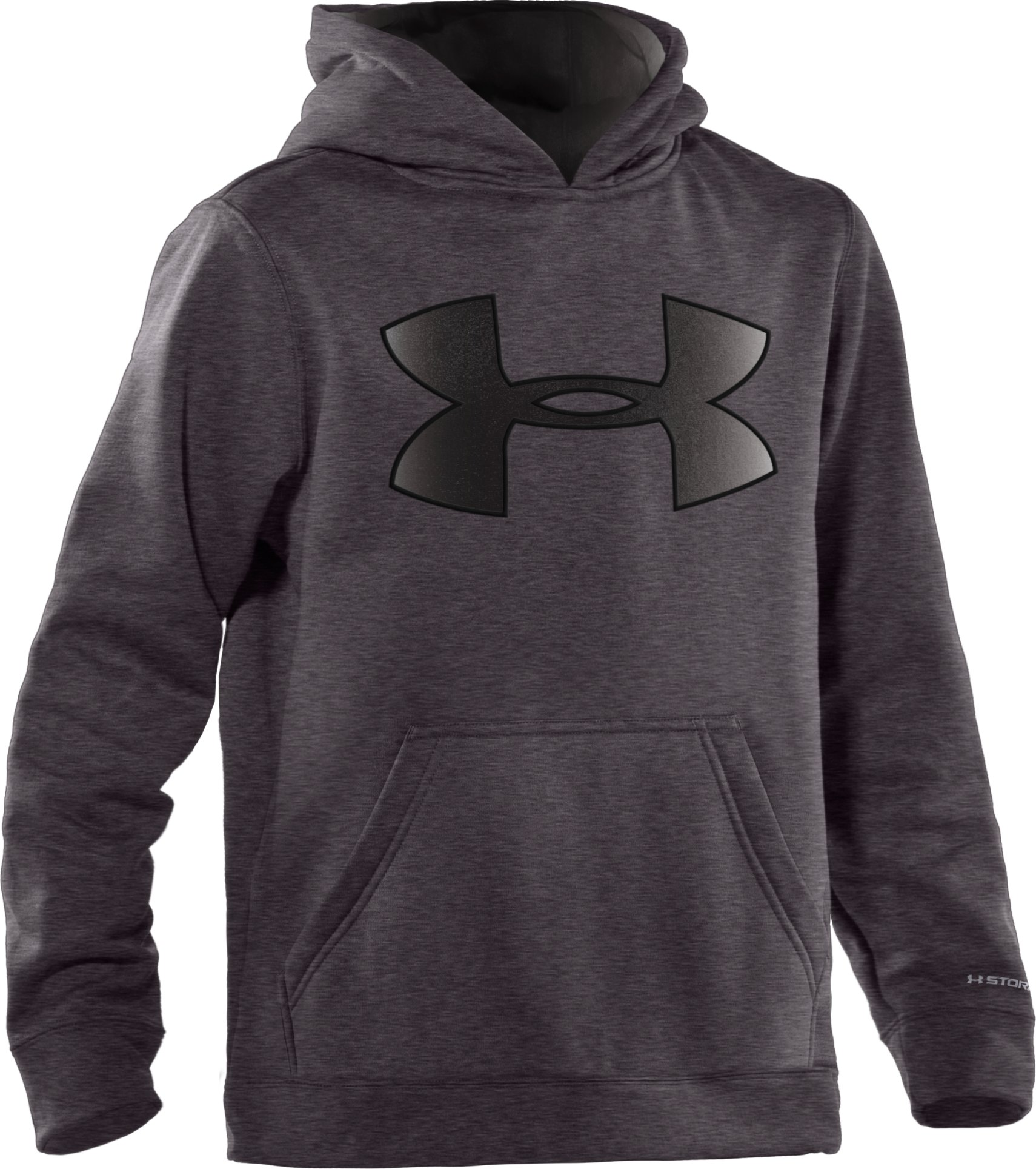 Boys' Armour® Fleece Storm Big Logo Pullover Hoodie, Carbon Heather, zoomed image