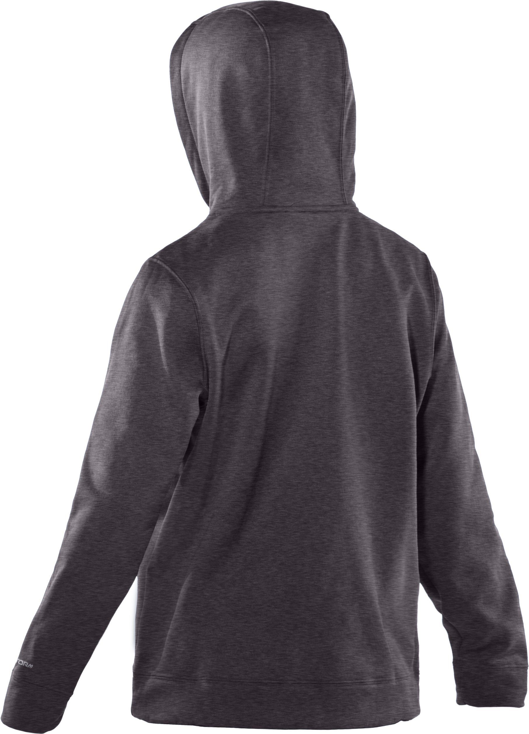 Boys' Armour® Fleece Storm Big Logo Pullover Hoodie, Carbon Heather, undefined