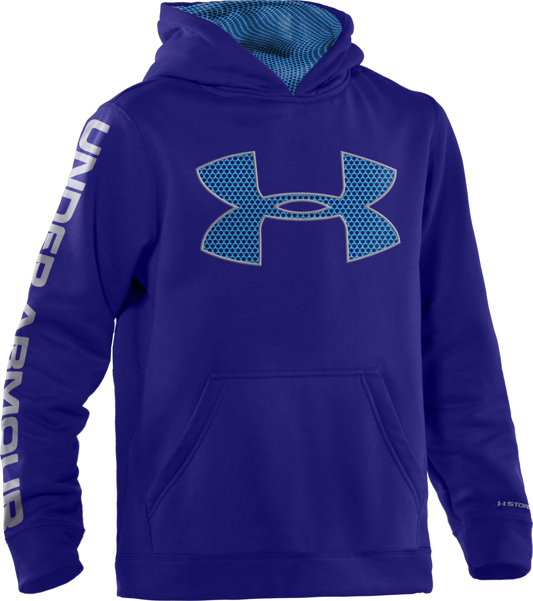 Boys' Armour® Fleece Storm Big Logo Pullover Hoodie, Caspian, zoomed image
