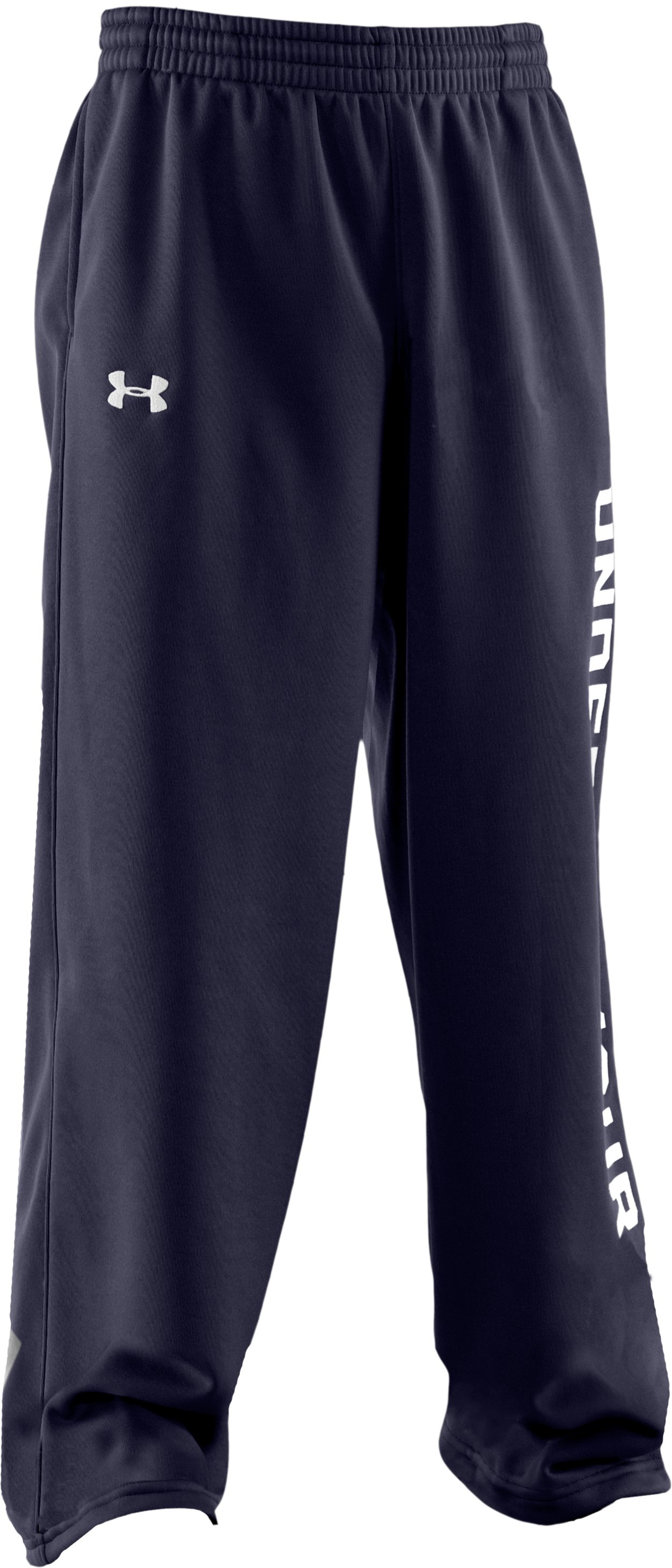 Boys' Armour® Fleece Storm Pants, Midnight Navy, zoomed image