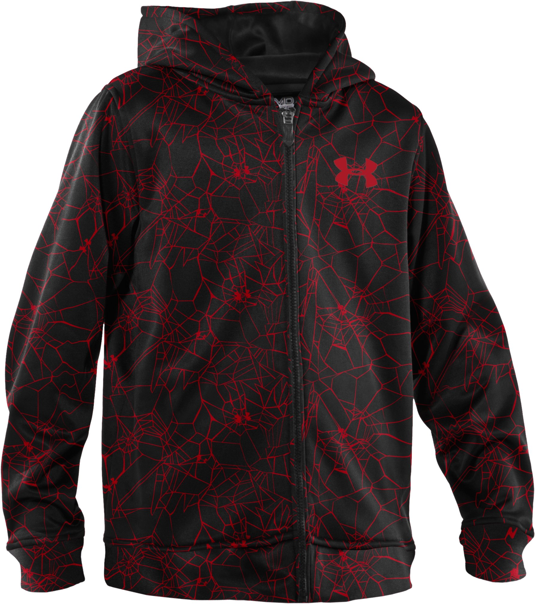 Boys' Armour® Fleece Storm Printed Full Zip Hoodie, Red, undefined