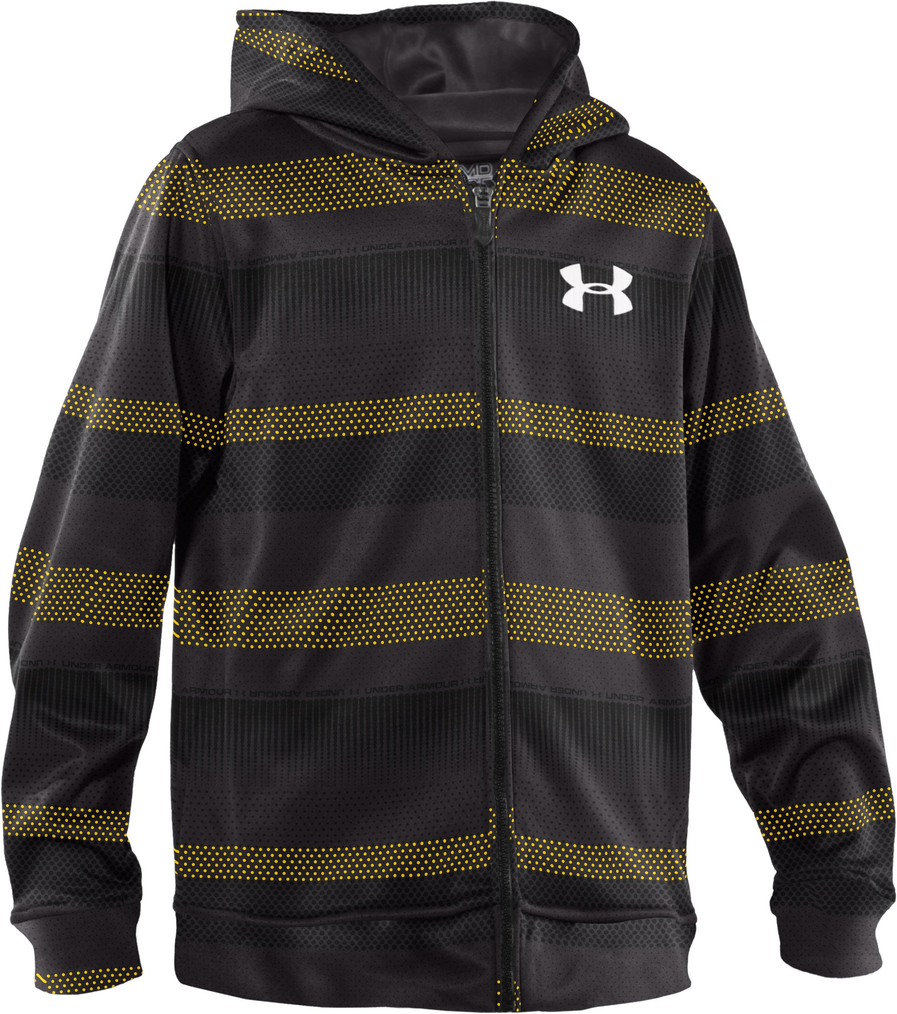 Boys' Armour® Fleece Storm Printed Full Zip Hoodie, Taxi, zoomed image