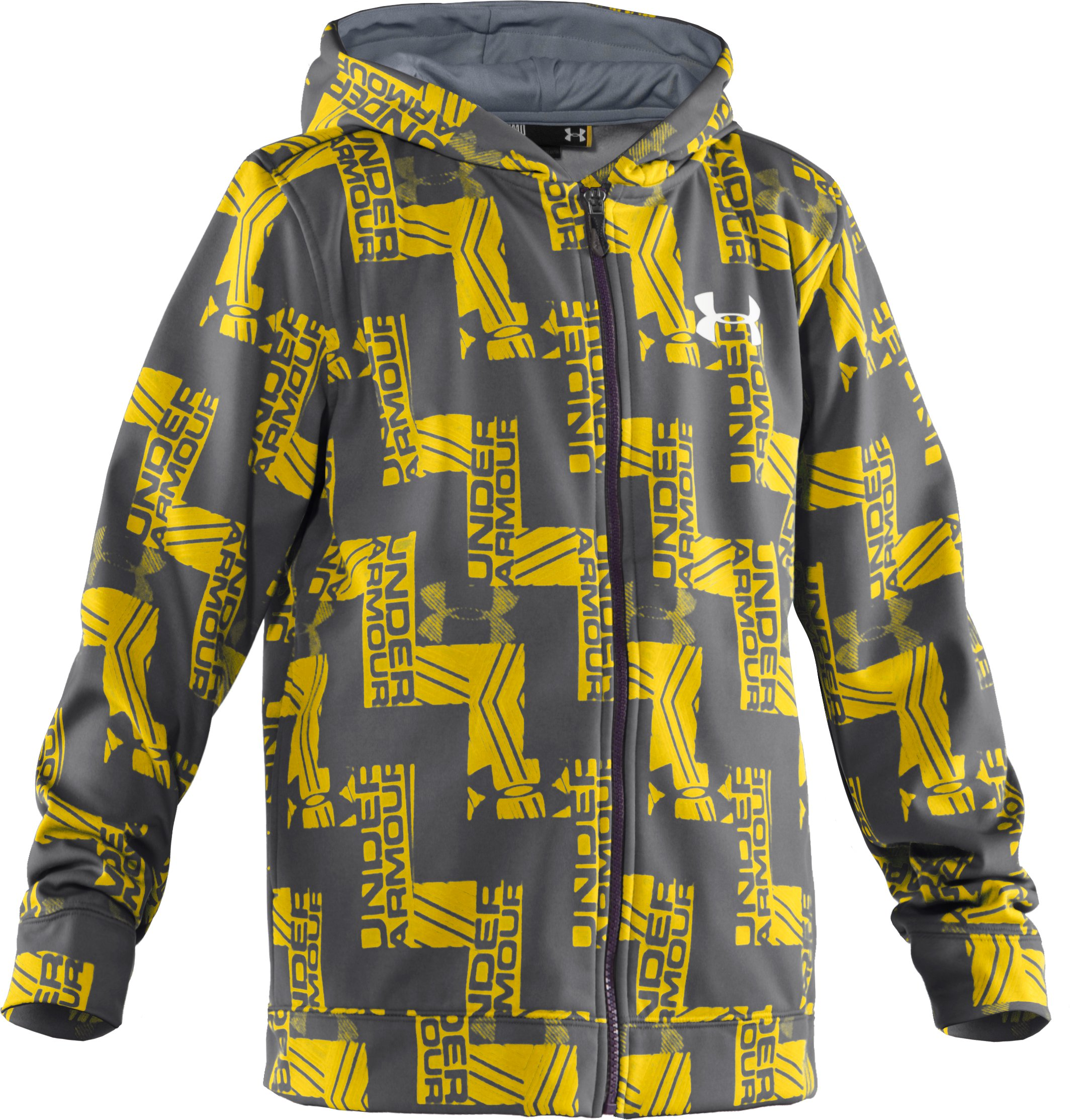 Boys' Armour® Fleece Captivate Hoodie, Graphite, zoomed image