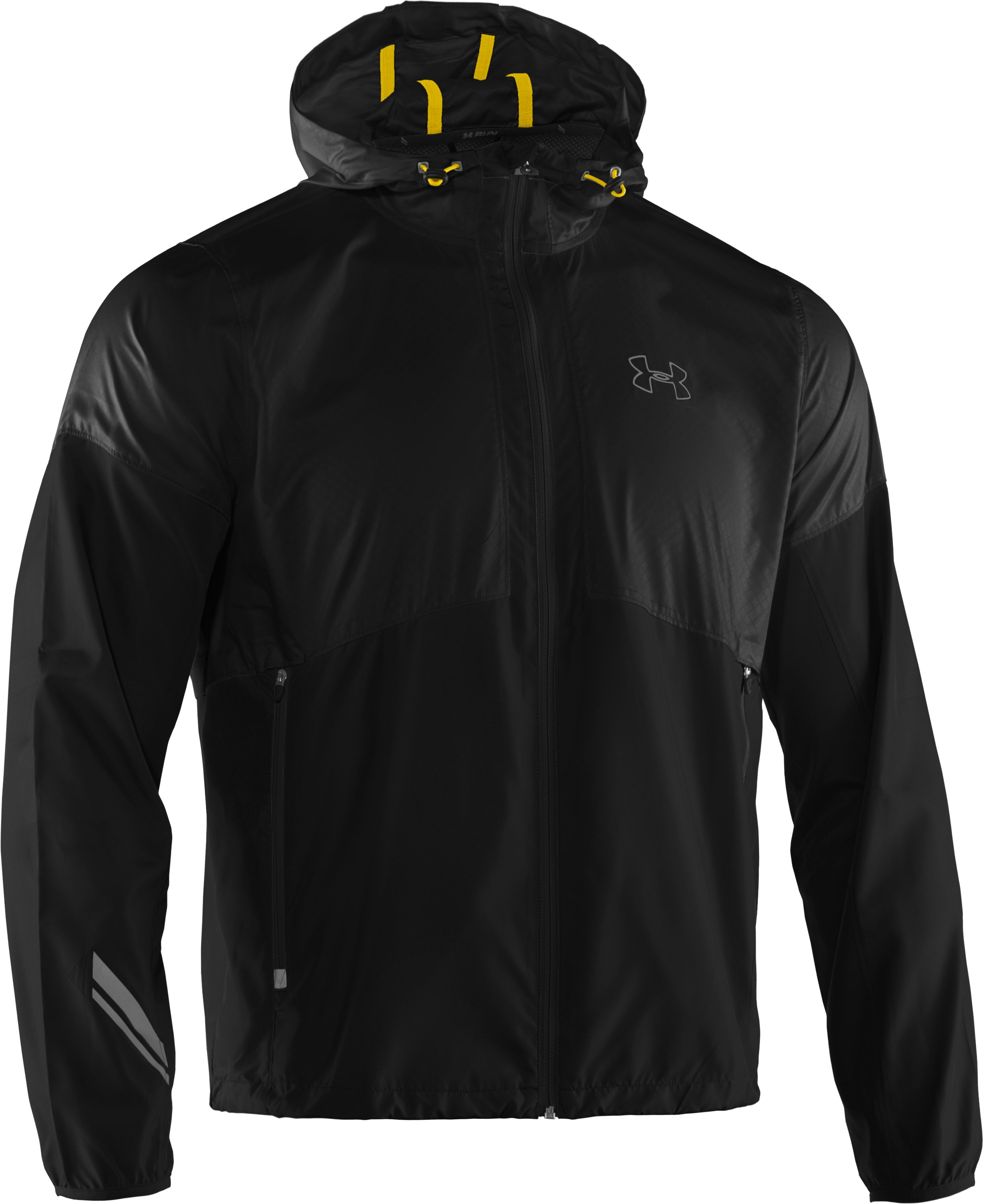Men's UA Run Storm Hooded Jacket, Black , undefined