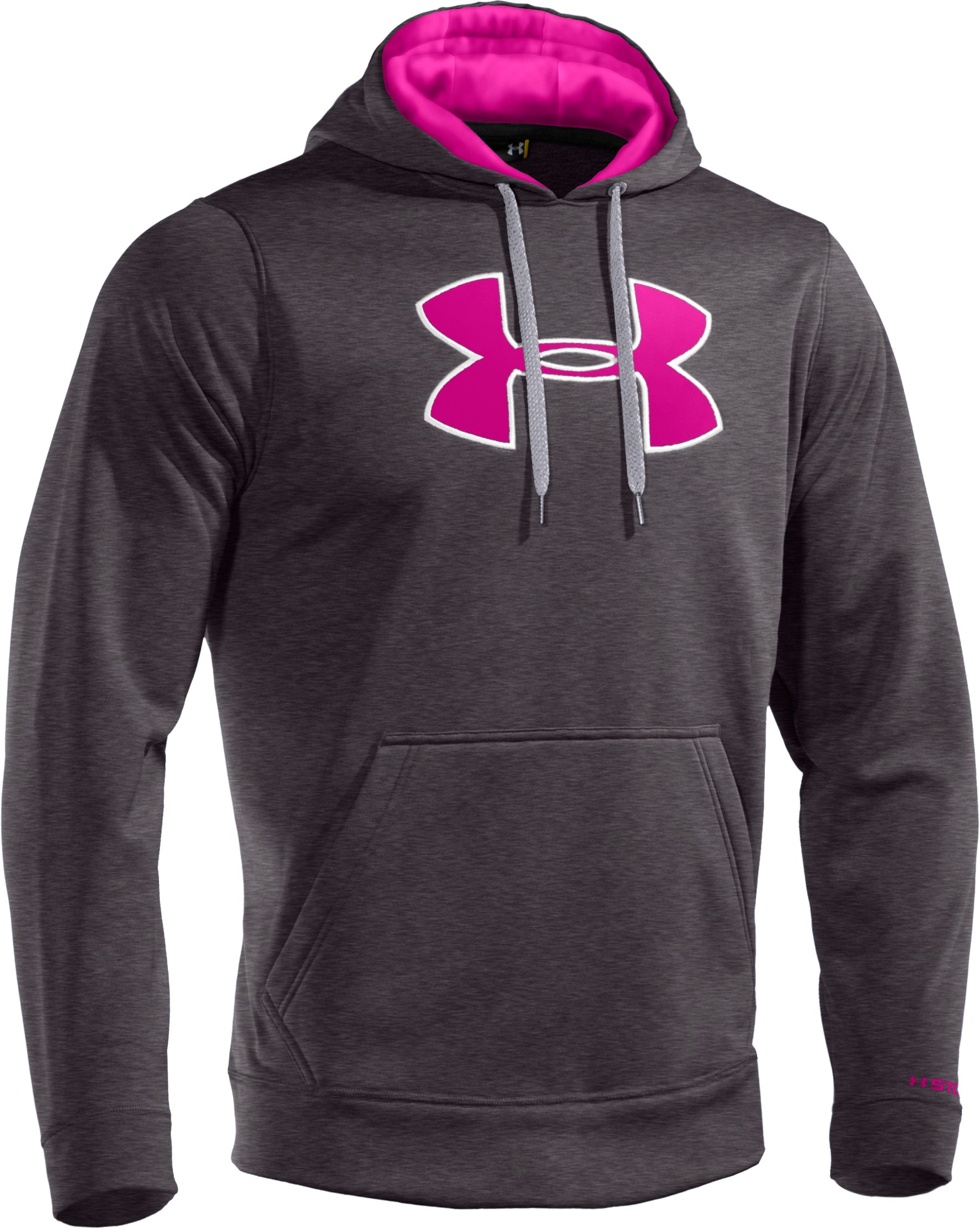 Men's Armour® Fleece Storm Big Logo Hoodie, Carbon Heather, undefined