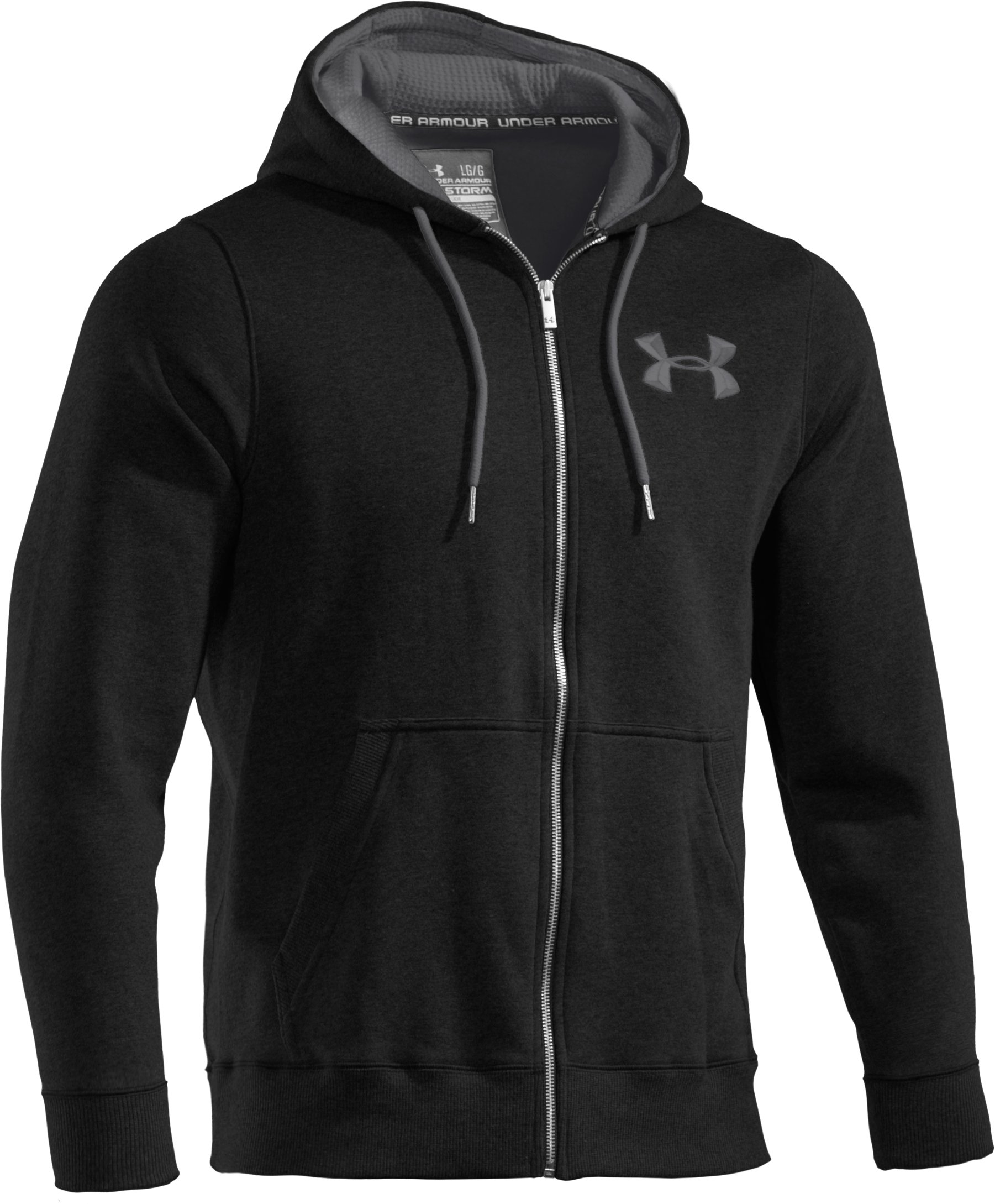Men's Charged Cotton® Storm Full Zip Hoodie, Black , undefined