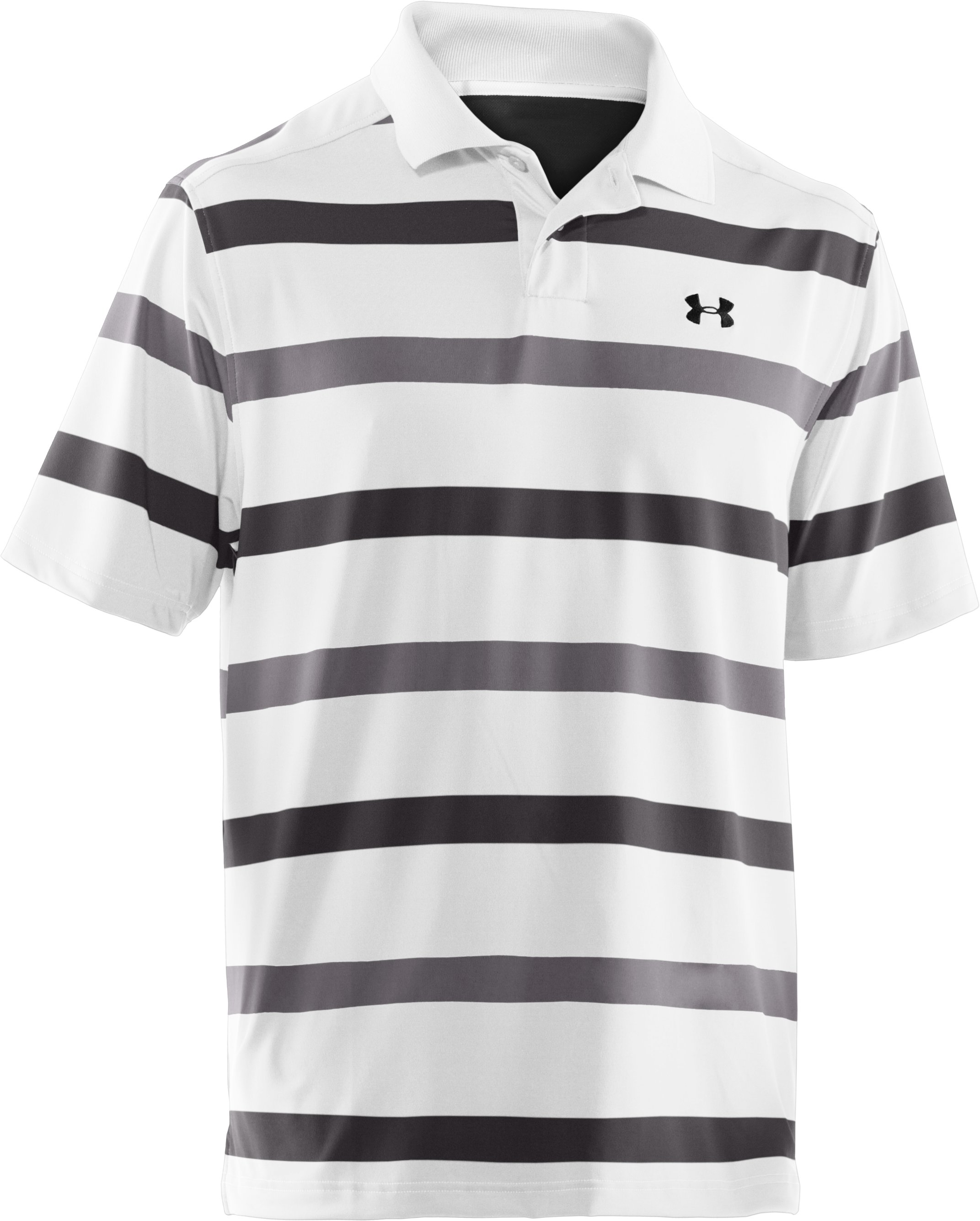 Men's UA Performance Bold Stripe Polo, Charcoal,