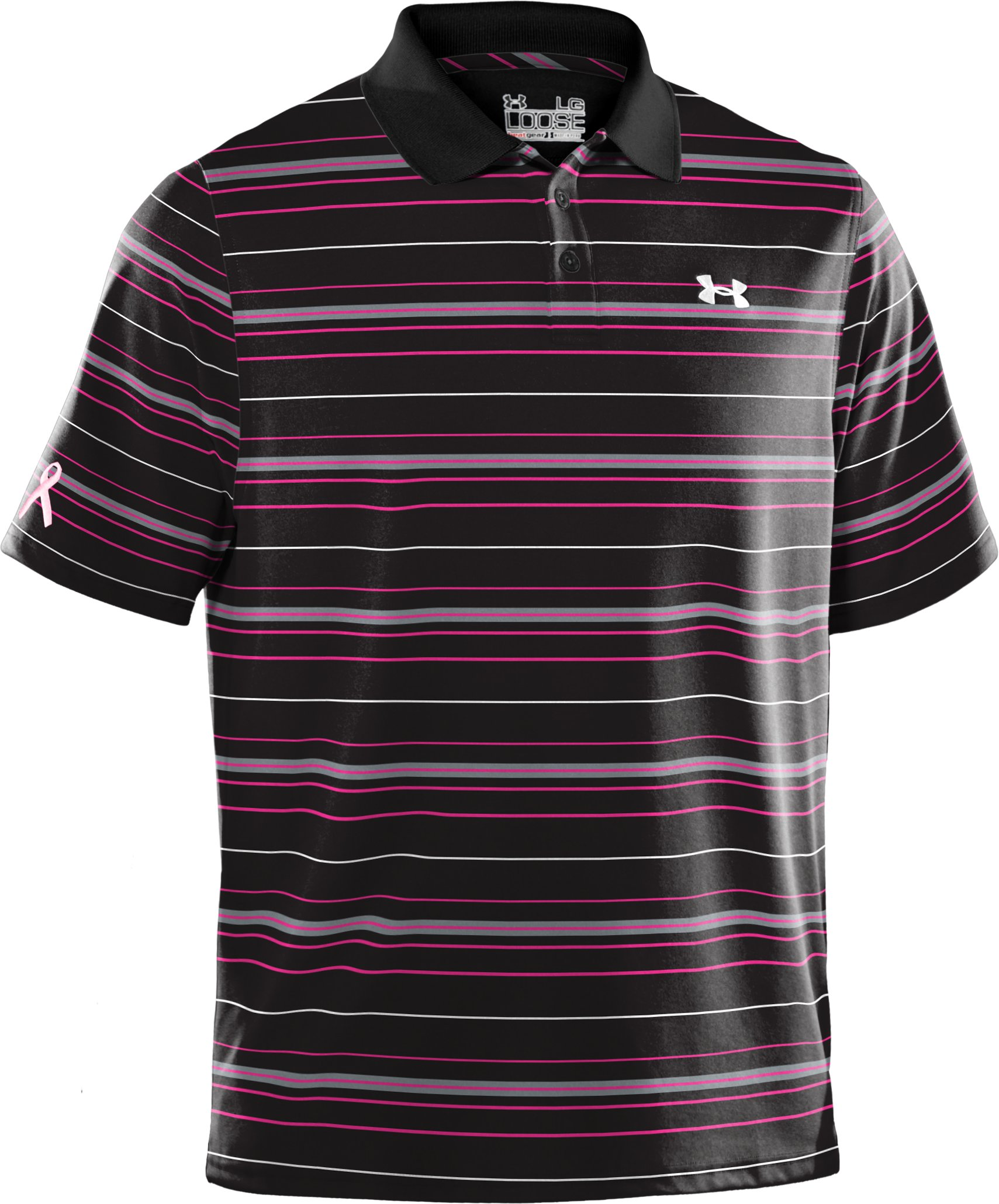 Men's UA PIP® Stripe Polo, Black ,