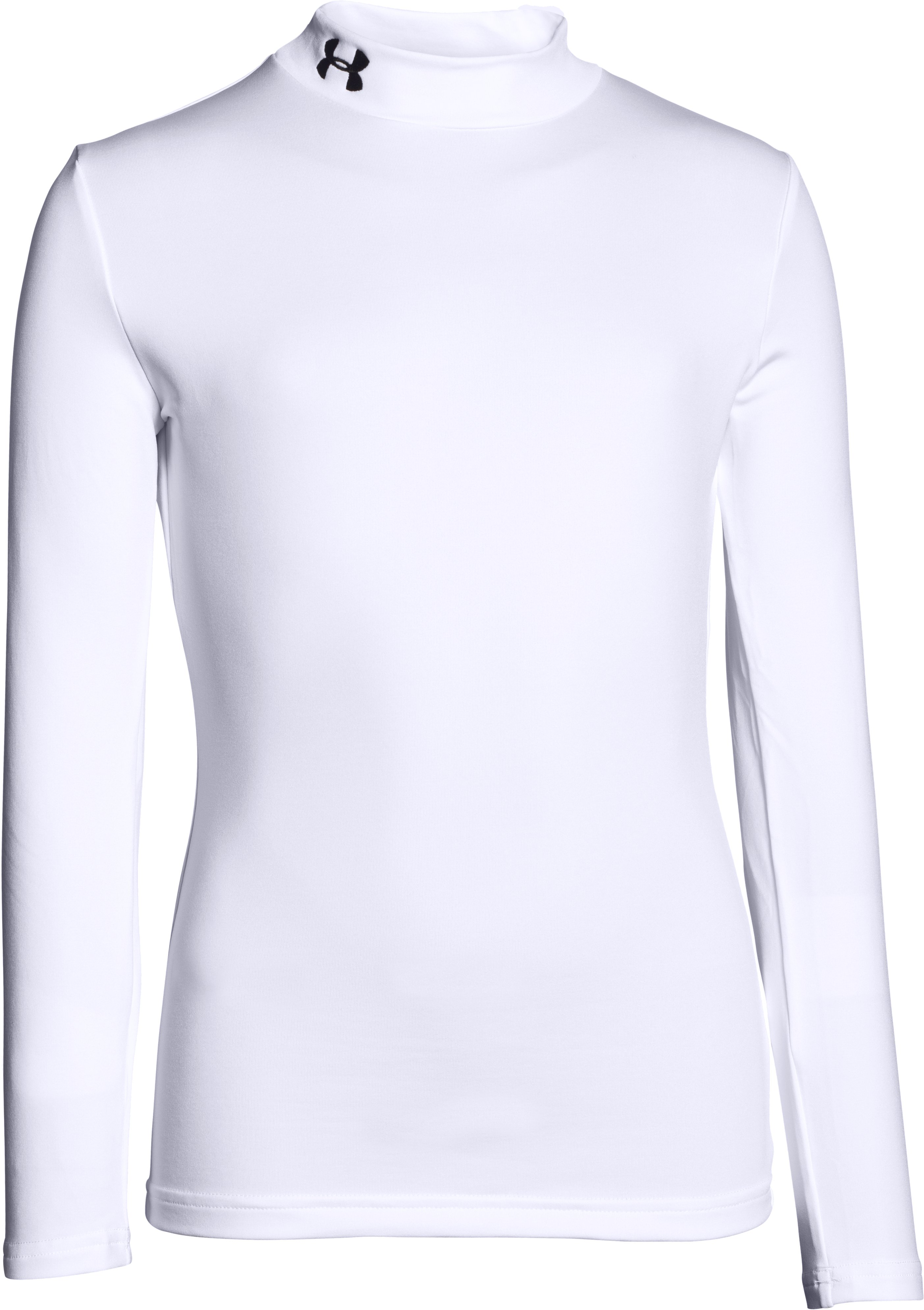 Boys' ColdGear® Evo Fitted Baselayer Mock, White, zoomed image