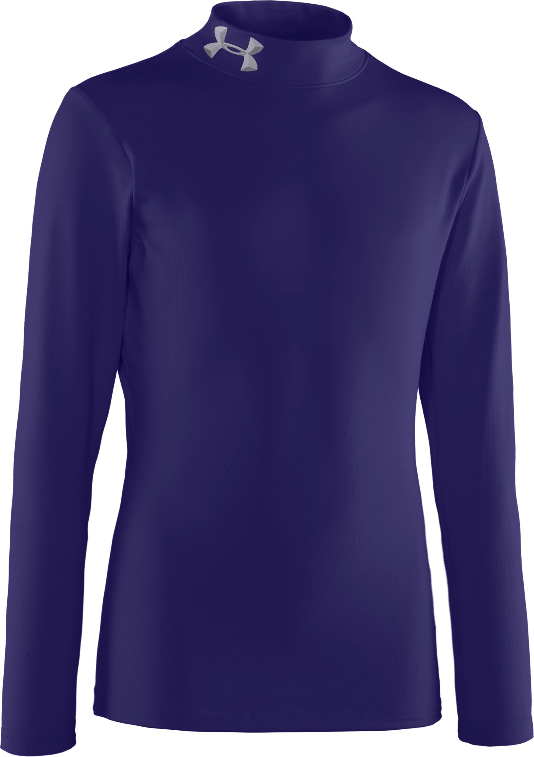 Boys' ColdGear® Evo Fitted Baselayer Mock, Midnight Navy, zoomed image