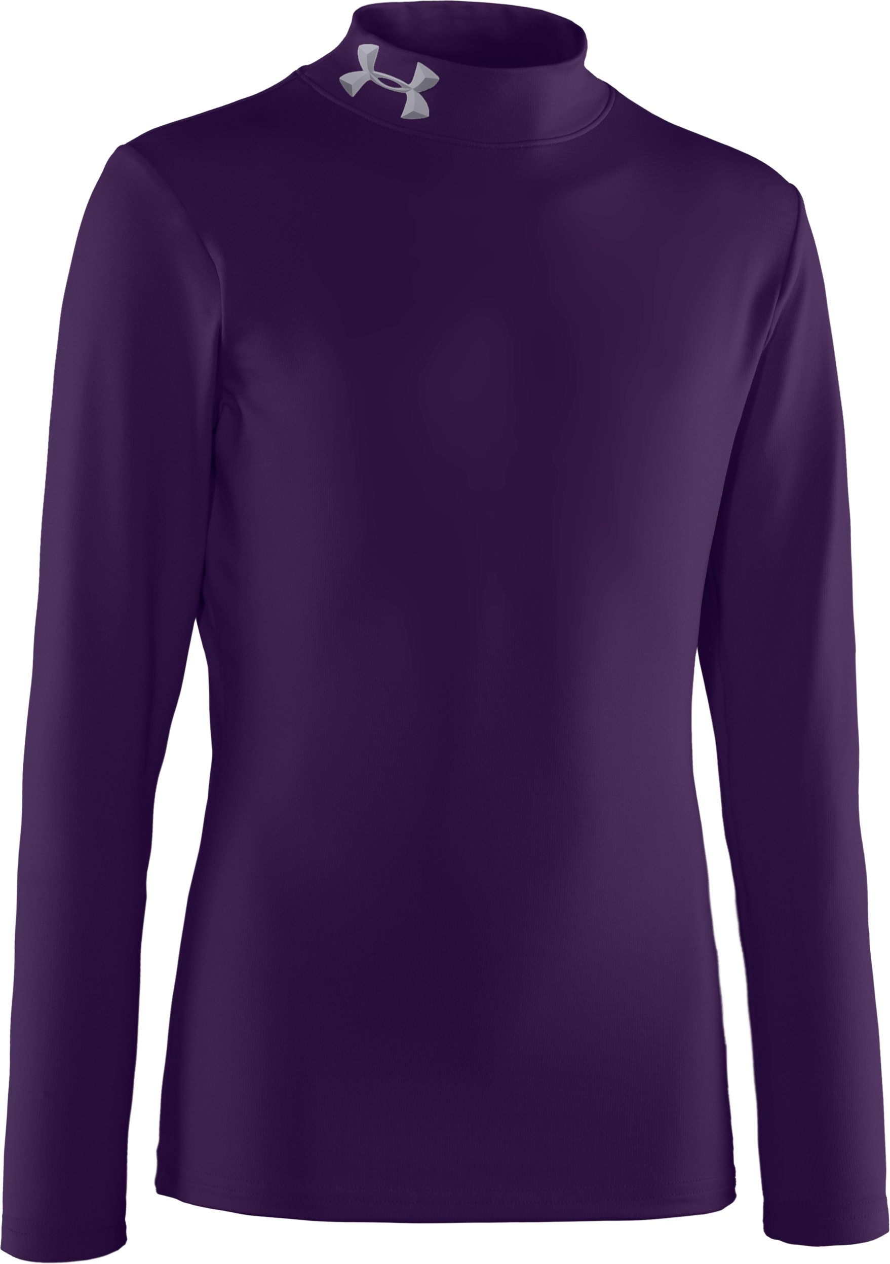 Boys' ColdGear® Evo Fitted Baselayer Mock, Purple, zoomed image