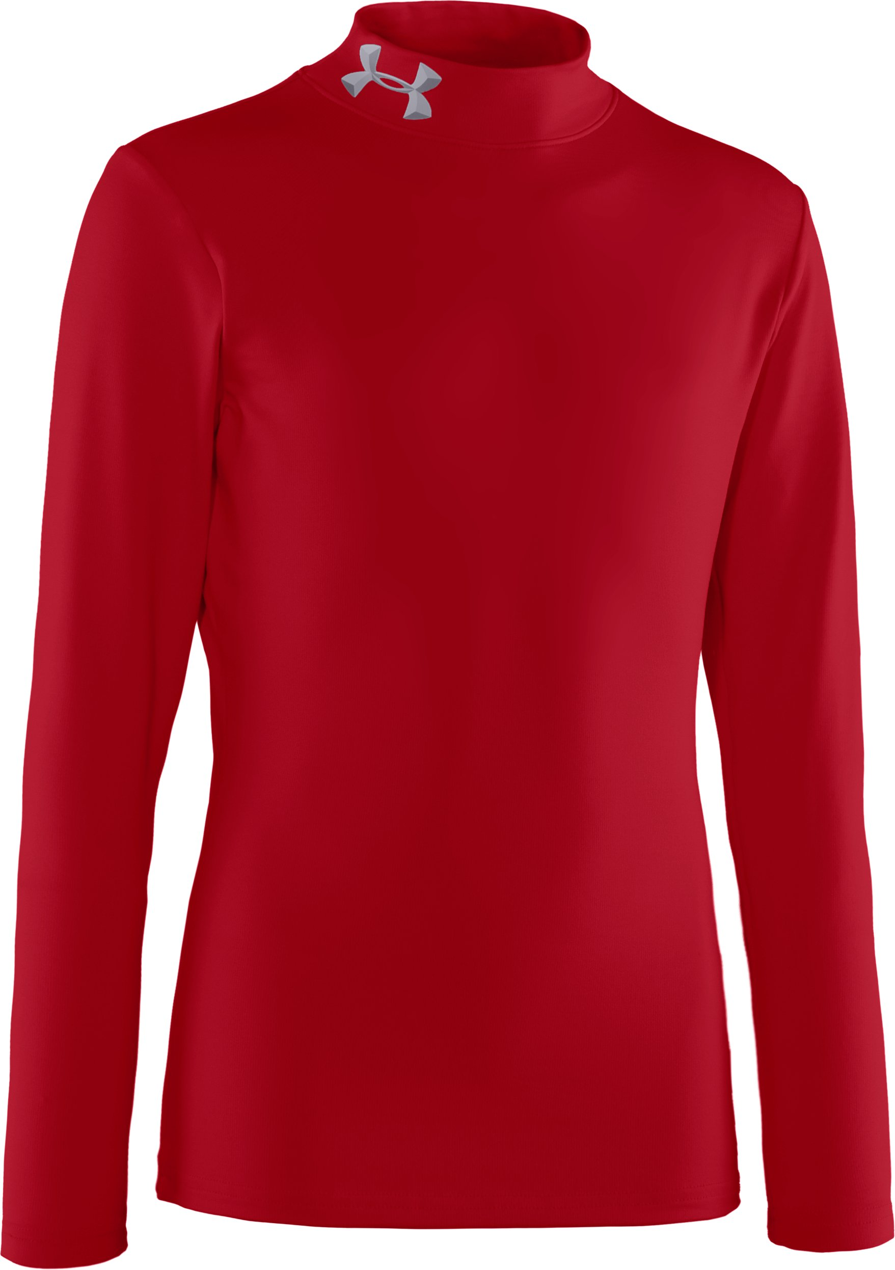 Boys' ColdGear® Evo Fitted Baselayer Mock, Red, zoomed image