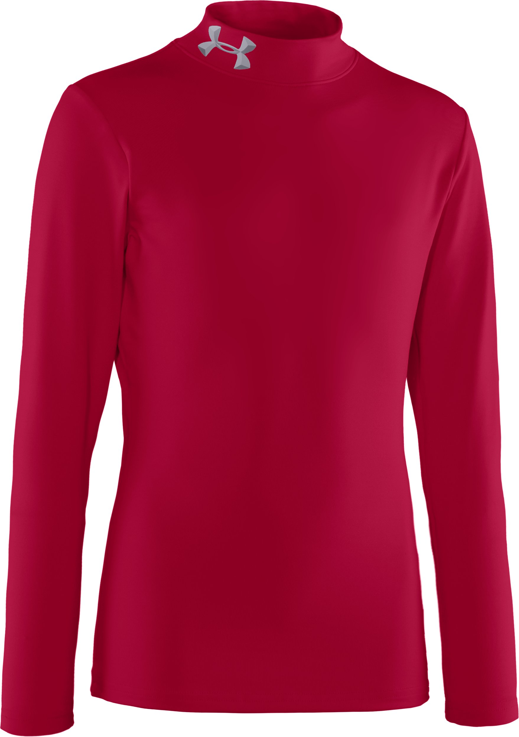 Boys' ColdGear® Evo Fitted Baselayer Mock, Maroon, zoomed image