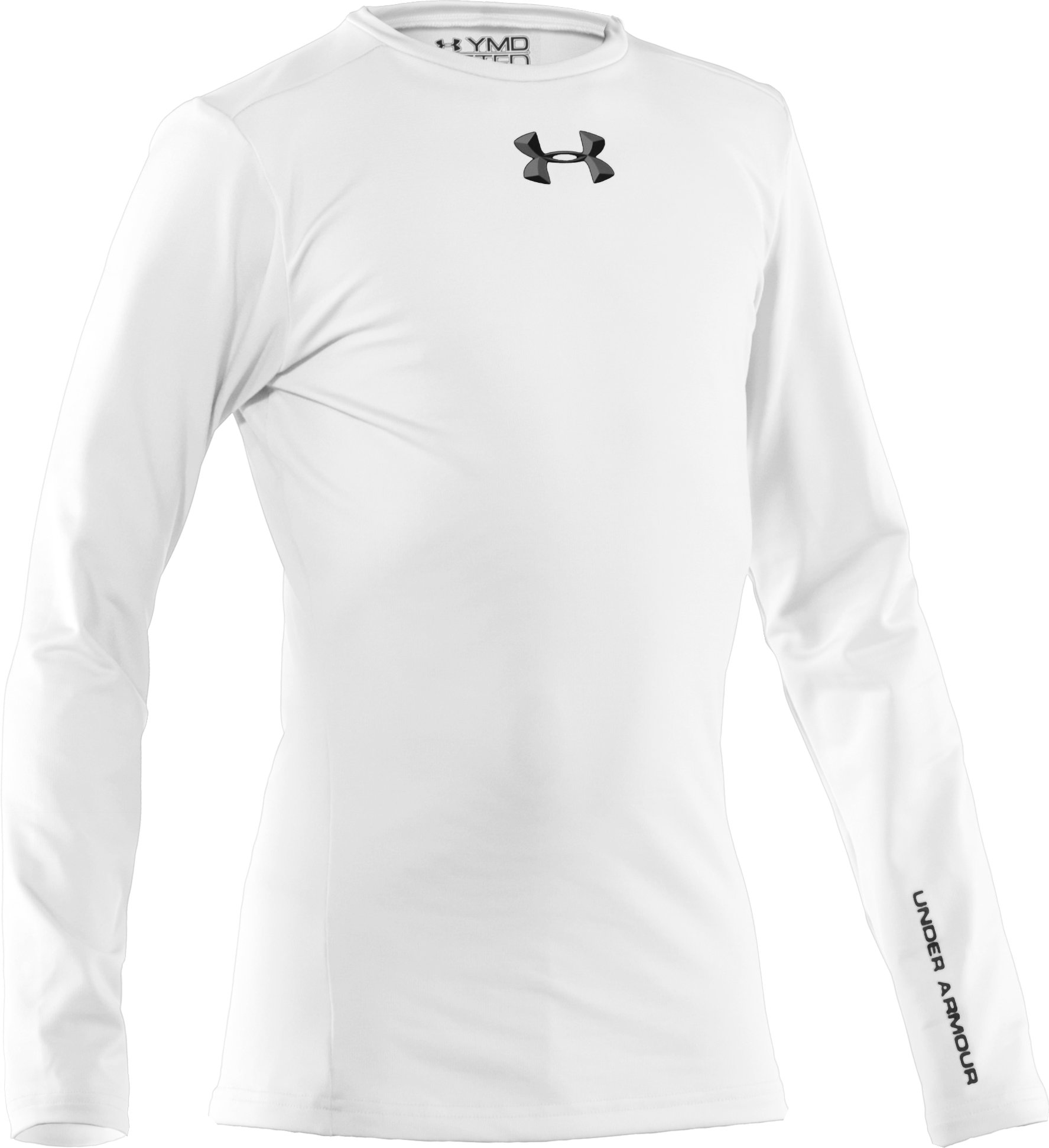 Boys' ColdGear® Evo Fitted Baselayer Crew, White, zoomed image