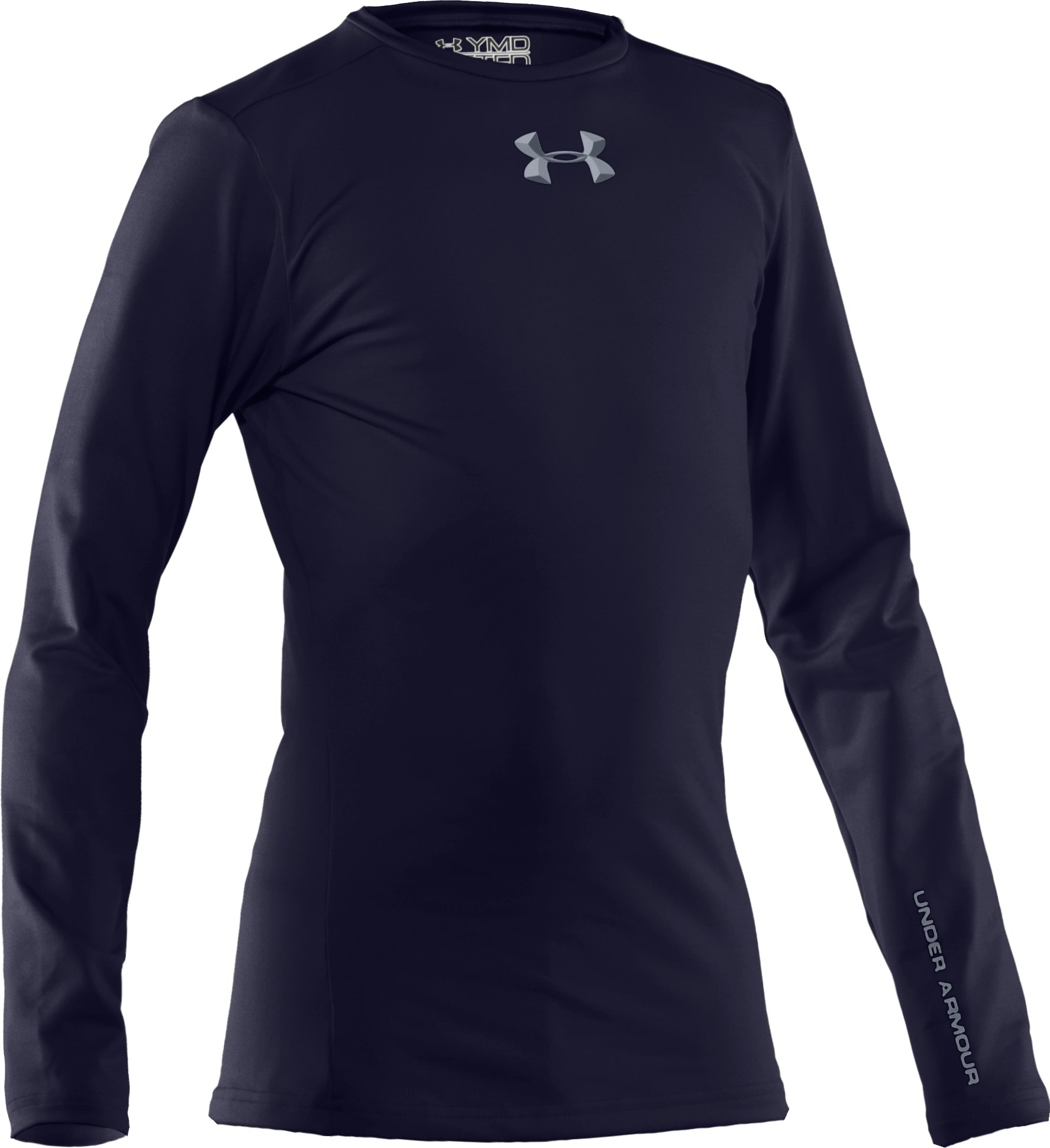Boys' ColdGear® Evo Fitted Baselayer Crew, Midnight Navy
