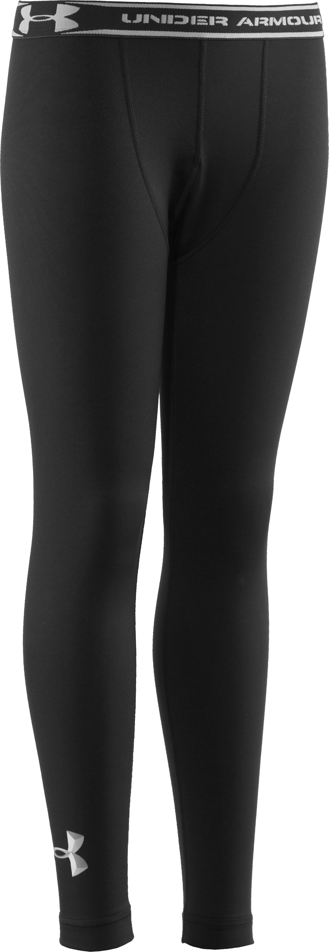 Boys' ColdGear® Evo Fitted Baselayer Tights, Black , undefined