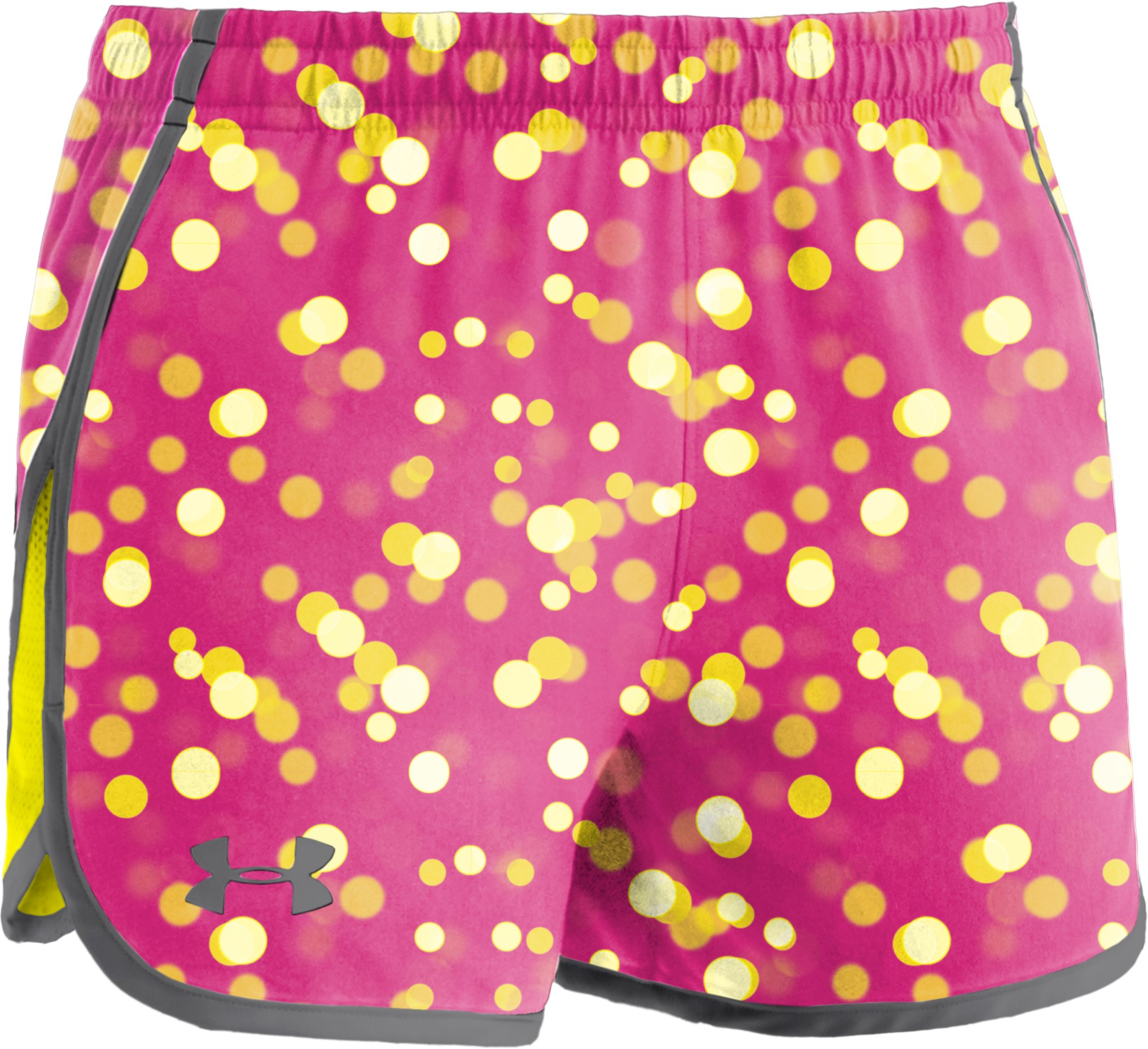 "Girls' UA Escape 3"" Printed Shorts, Tropic Pink, zoomed image"