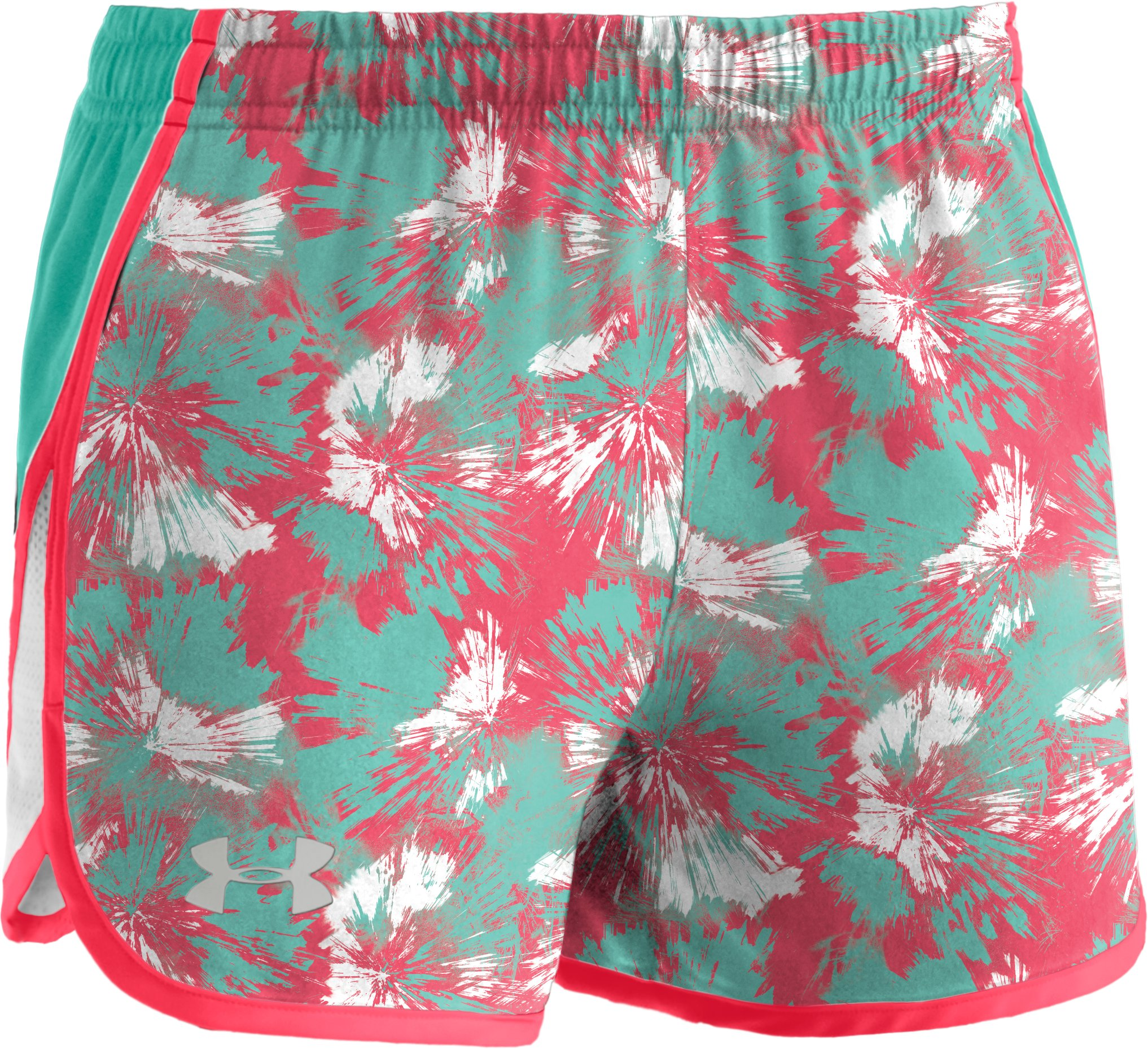 "Girls' UA Escape 3"" Printed Shorts, Power, zoomed image"