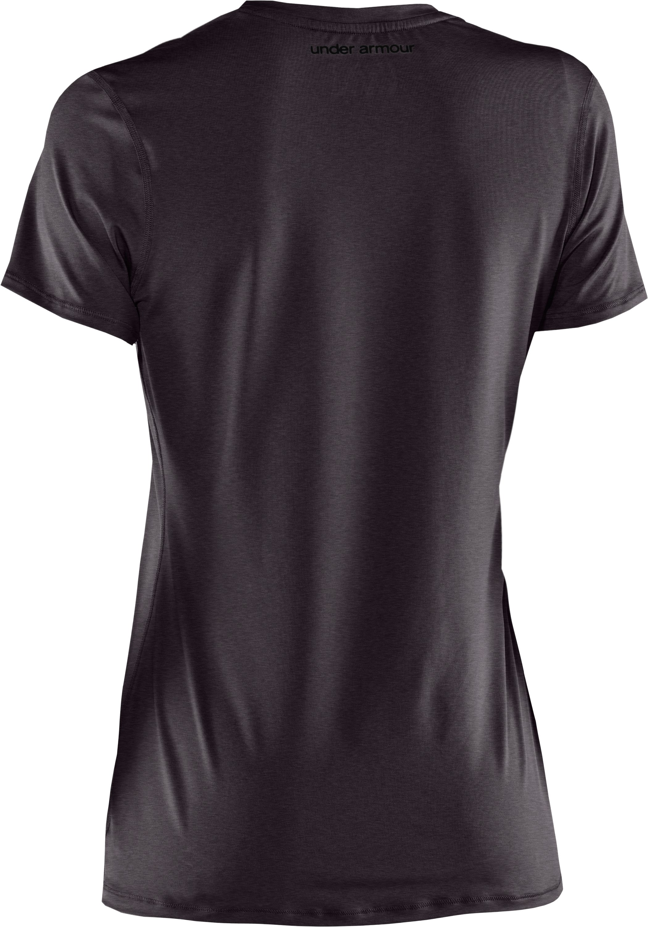 Women's HeatGear® Sonic Short Sleeve, Carbon Heather,