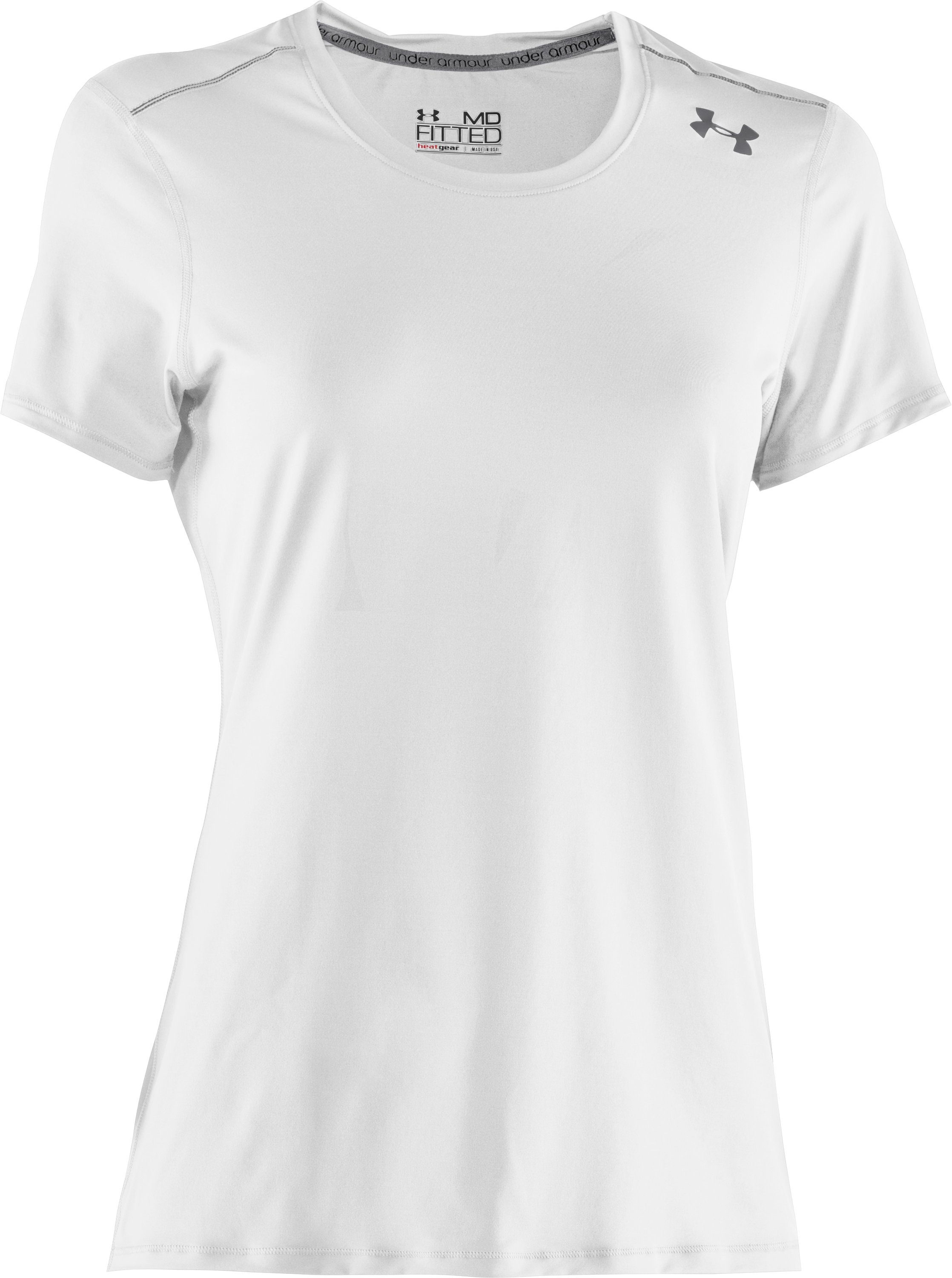 Women's HeatGear® Sonic Short Sleeve, White, undefined