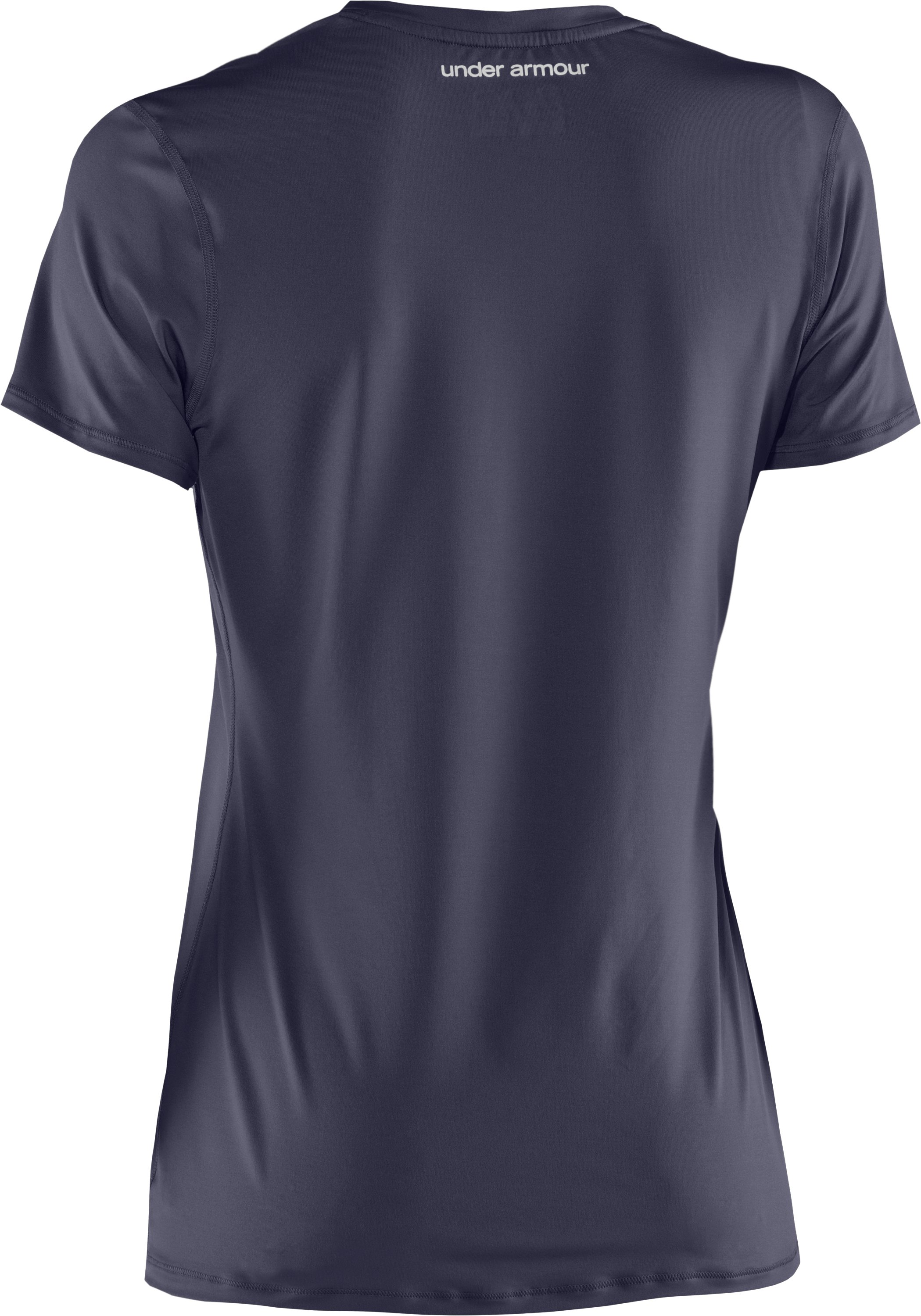 Women's HeatGear® Sonic Short Sleeve, Midnight Navy,
