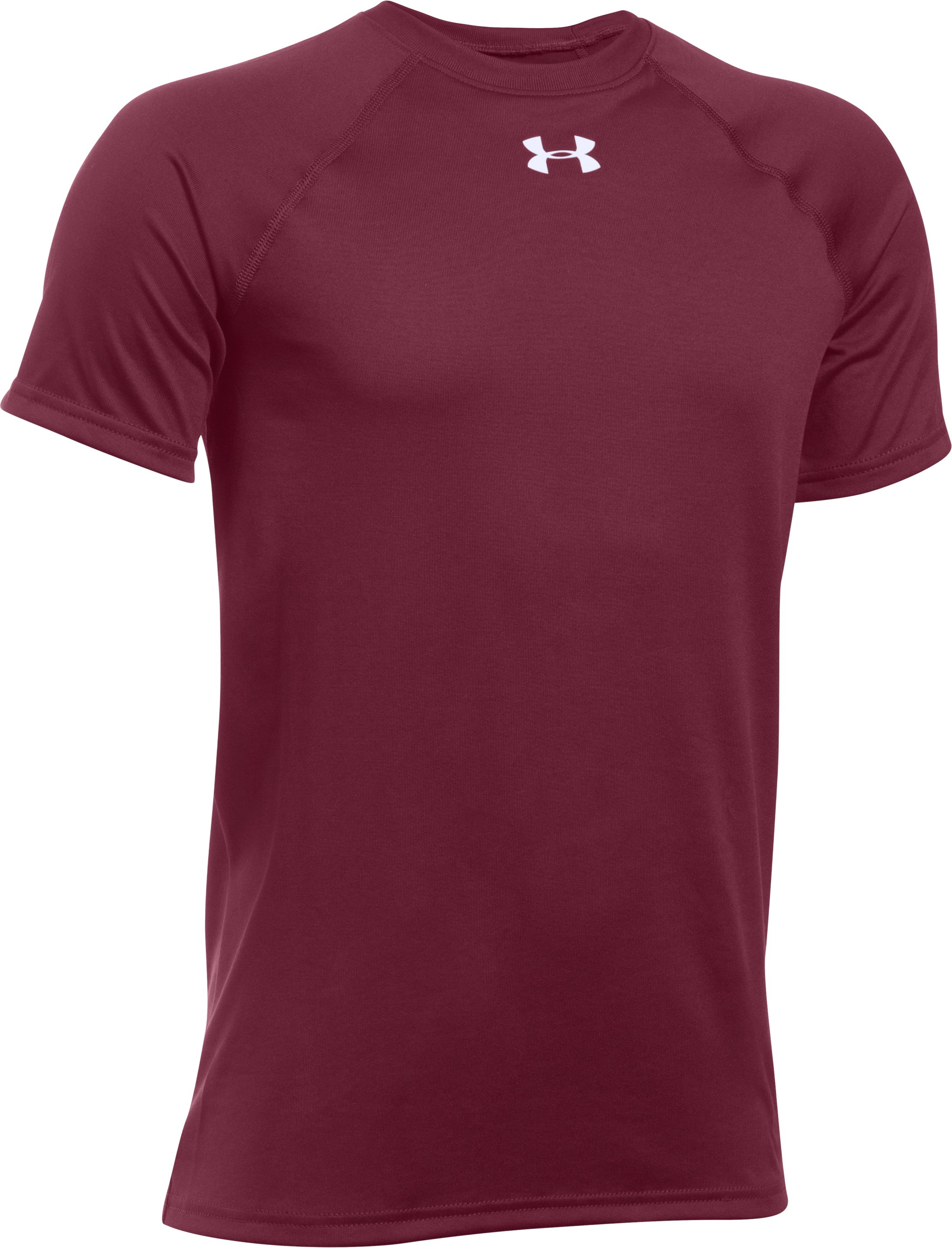 Boys' UA Locker Short Sleeve T-Shirt, Maroon, zoomed image