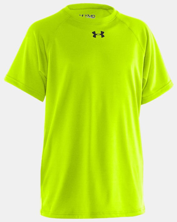 Boys' UA Locker Short Sleeve T-Shirt, Yellow, pdpMainDesktop image number 0