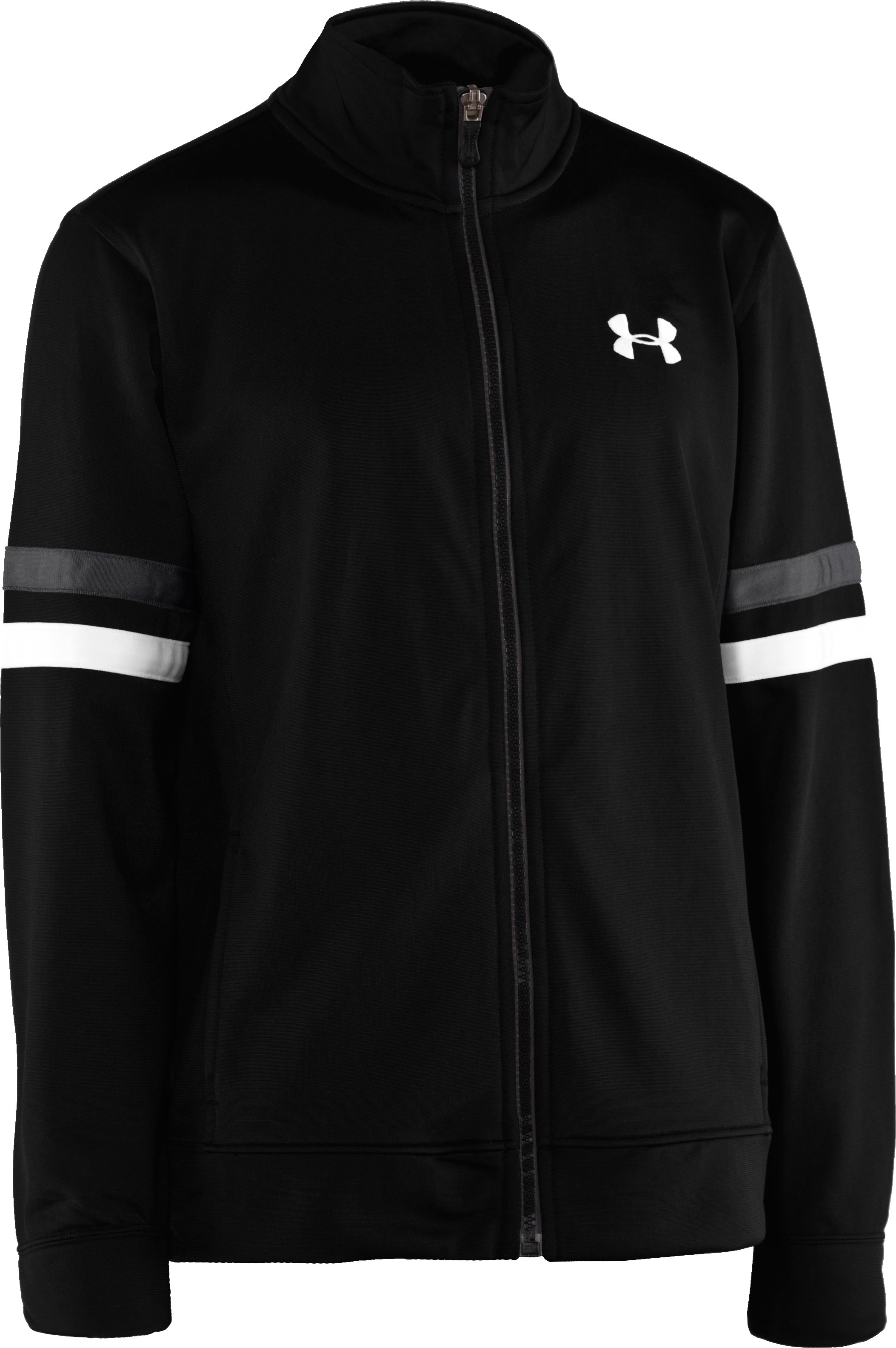 Boys' UA Brawler Warm-Up Jacket, Black , zoomed image