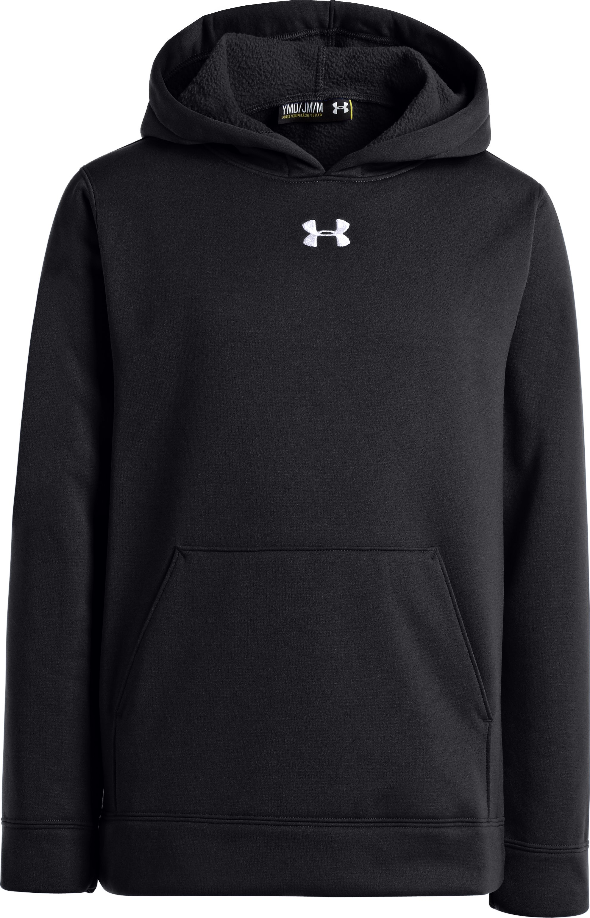 Boys' Armour® Fleece Storm Team Hoodie, Black , zoomed image