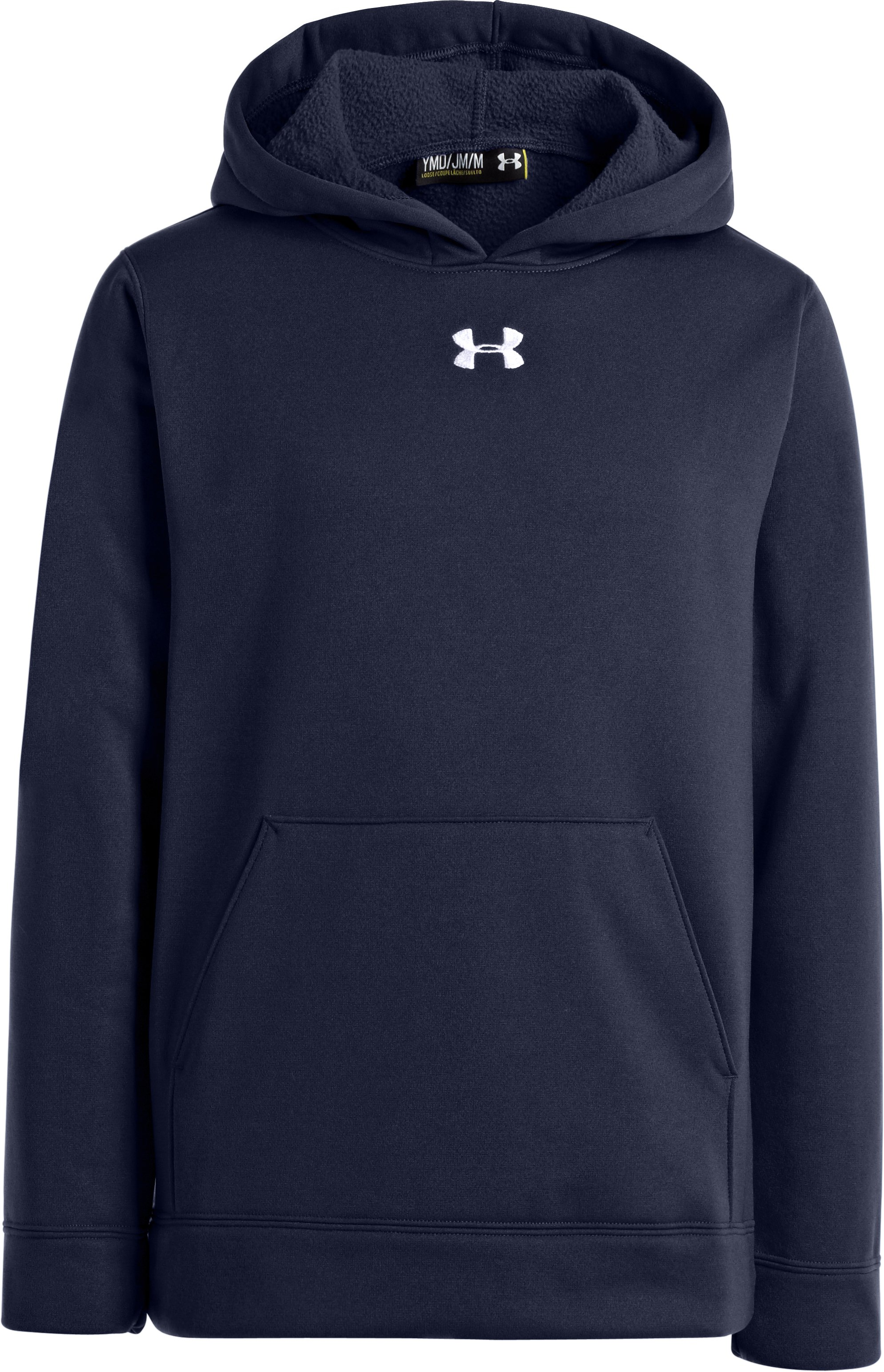 Boys' Armour® Fleece Storm Team Hoodie, Midnight Navy, zoomed image