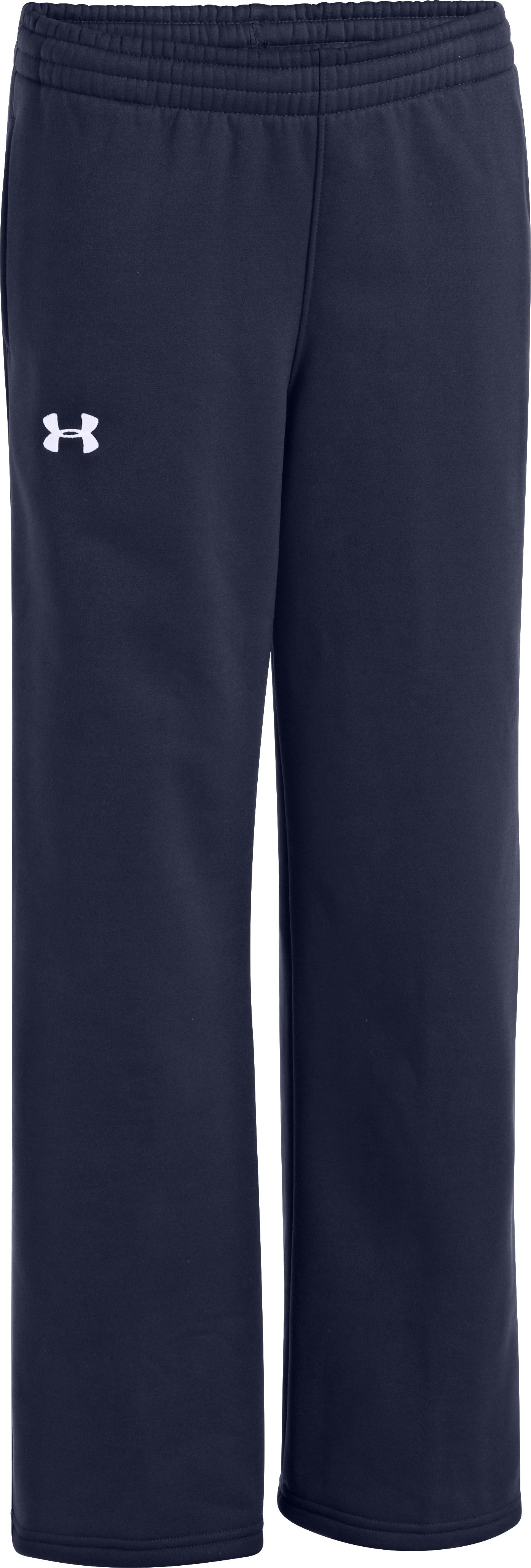 Boys' Armour® Fleece Storm Team Pants, Midnight Navy, zoomed image