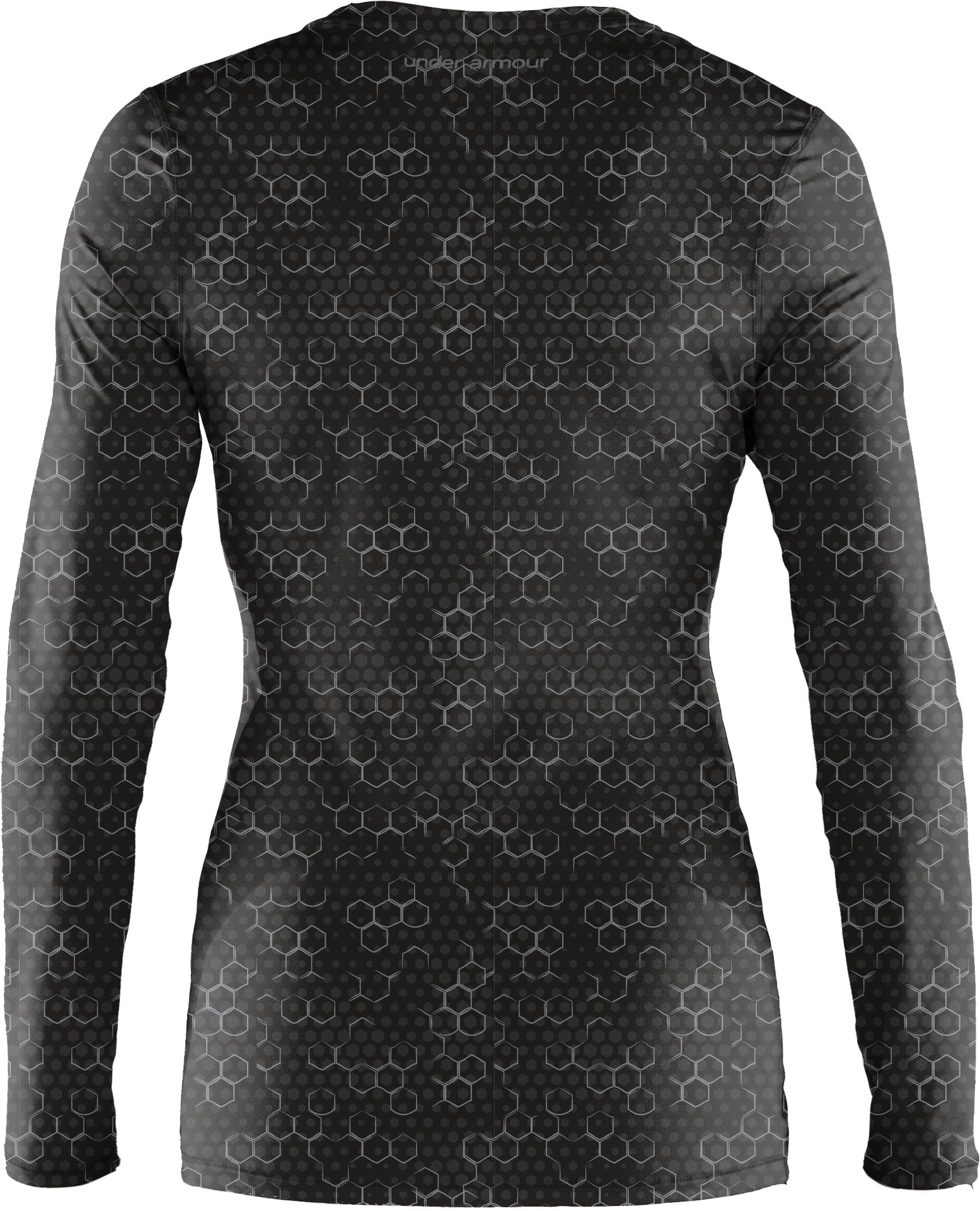 Women's HeatGear® Sonic Printed Long Sleeve, Black , undefined