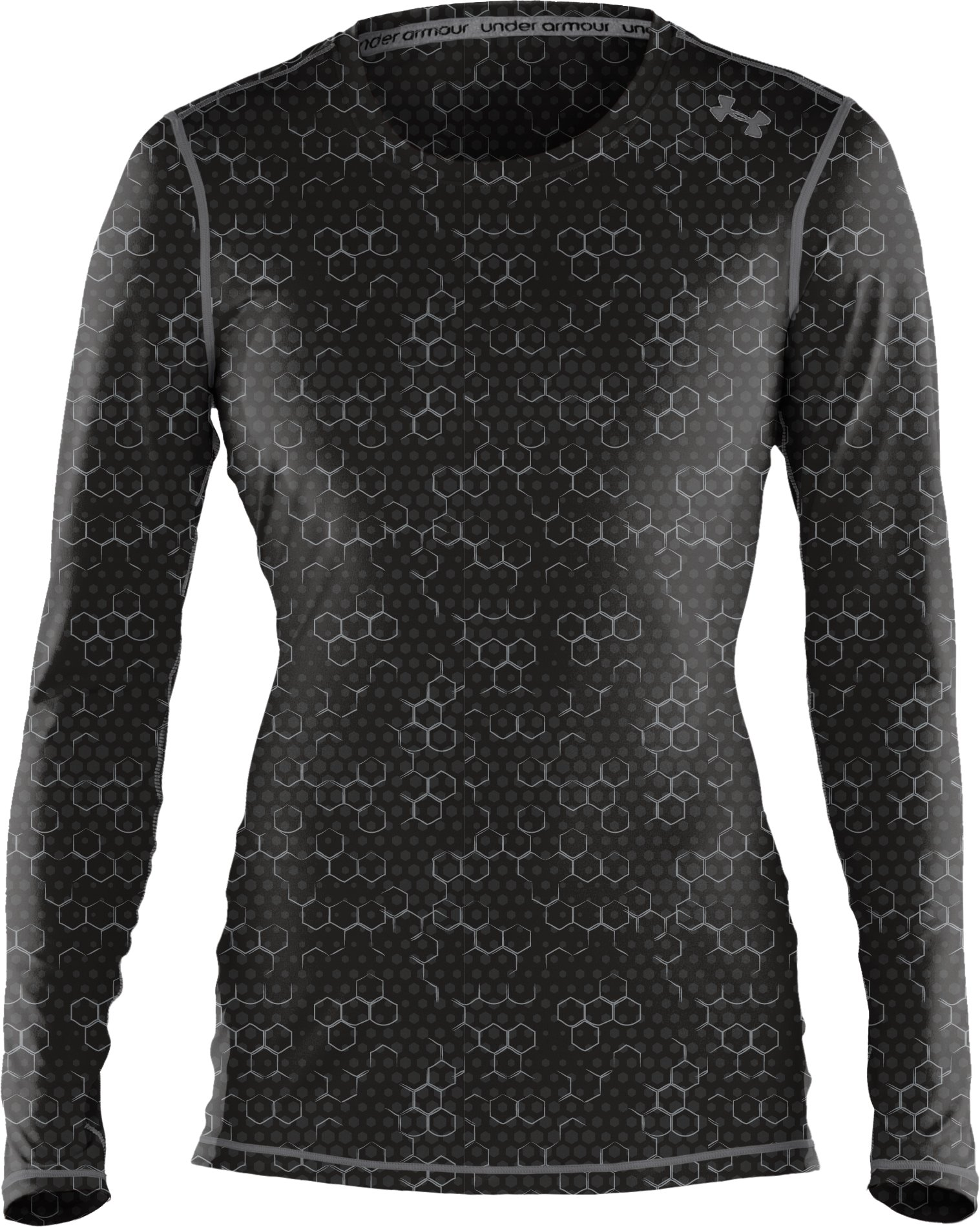 Women's HeatGear® Sonic Printed Long Sleeve, Black ,