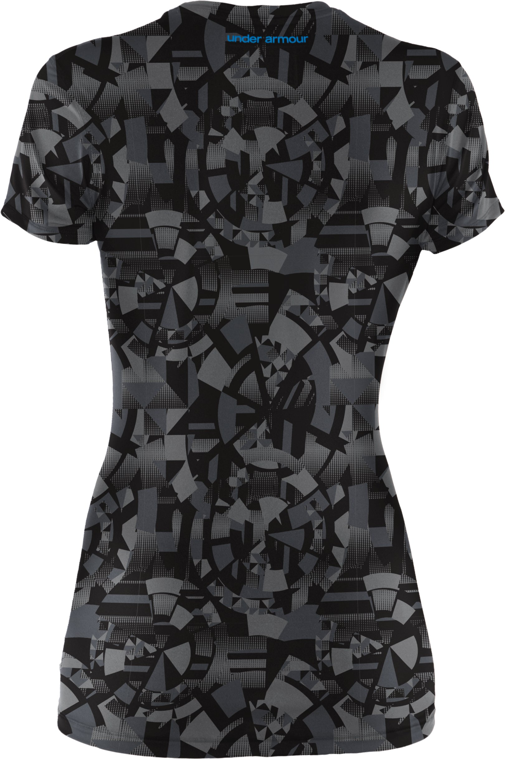 Women's HeatGear® Sonic Printed Short Sleeve, Black
